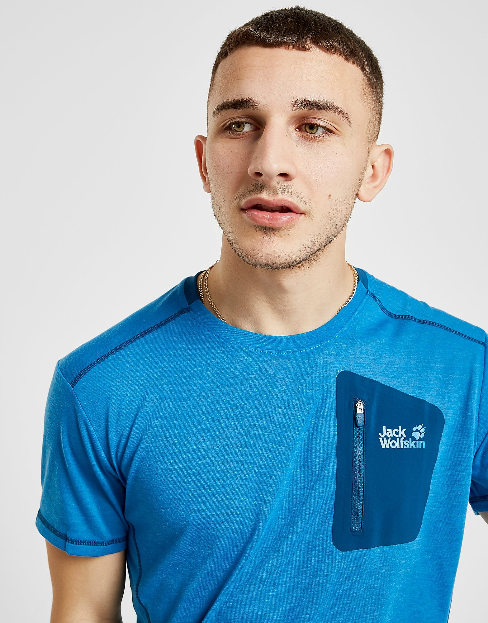 Jack Wolfskin Knit Woven Pocket T-Shirt Heren - Blauw - Heren