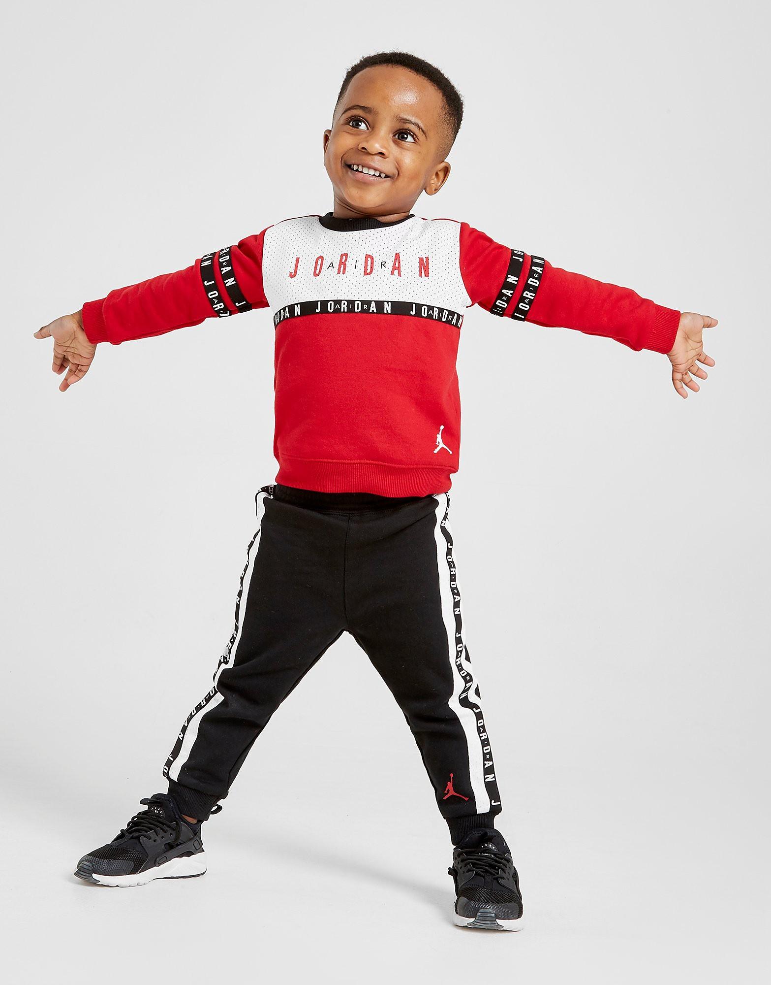 Jordan Air Tape Crew Tracksuit Baby's - Rood - Kind
