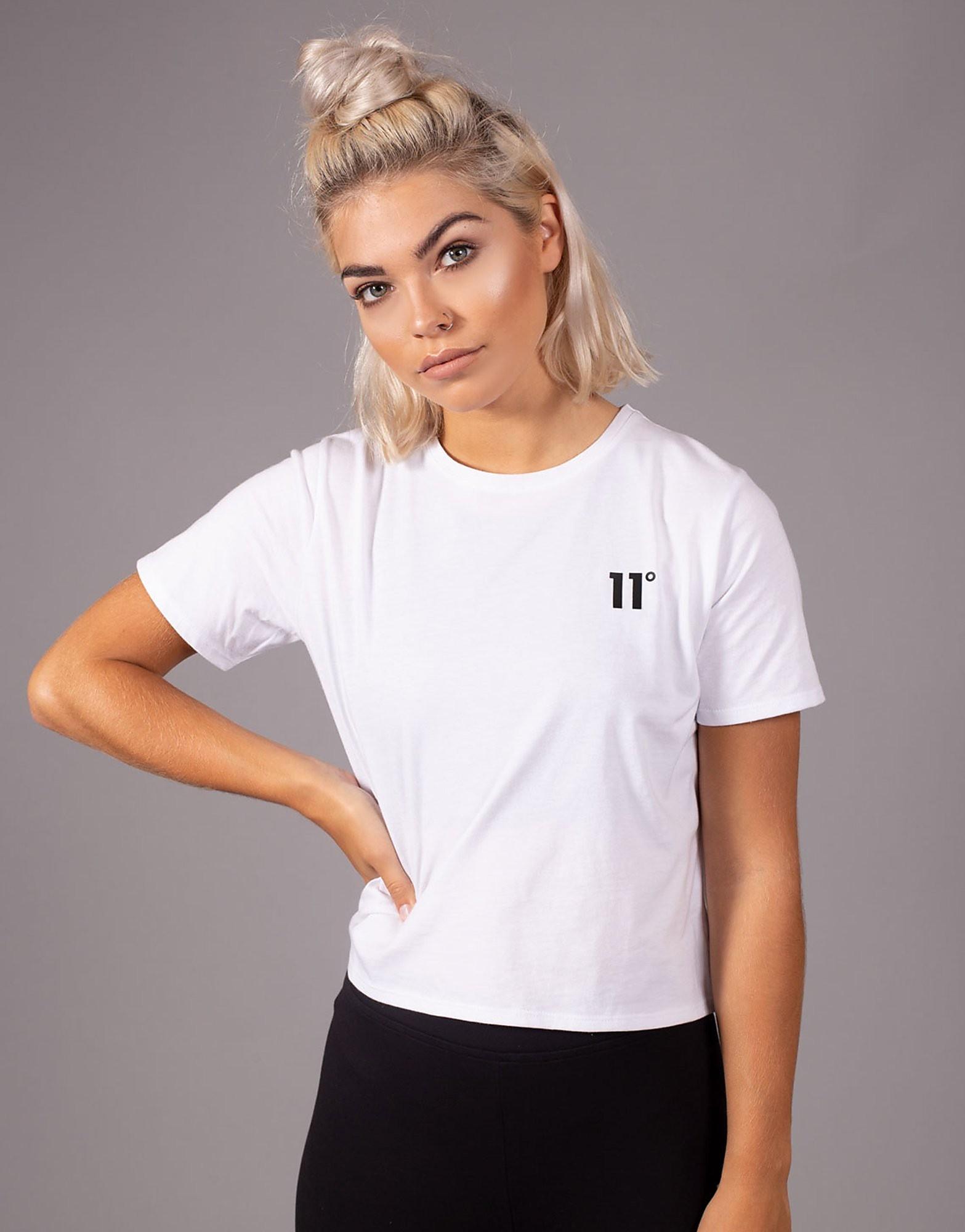 11 Degrees Logo Crop T-Shirt - Wit - Dames