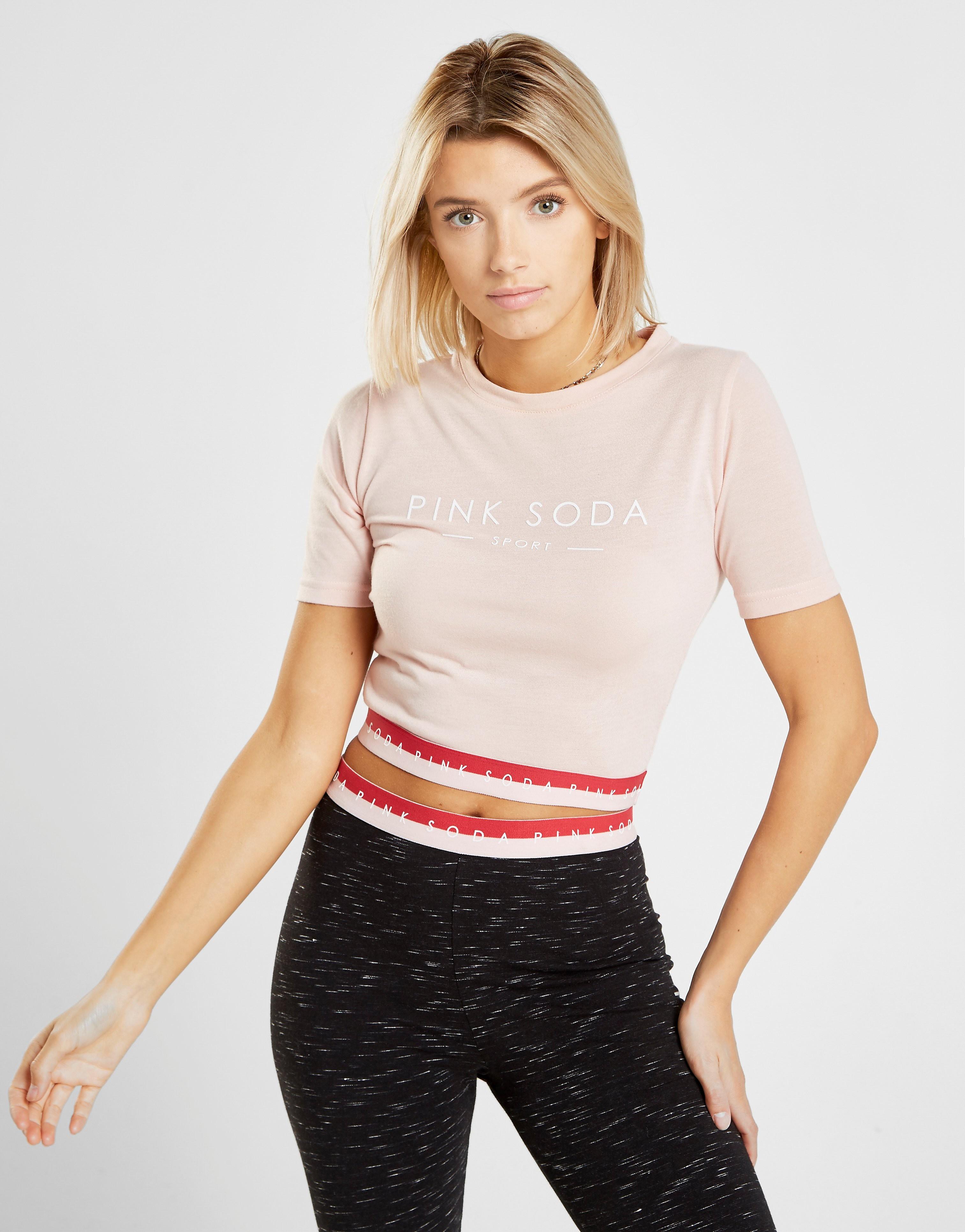 Pink Soda Sport Two Colour Tape T-Shirt - alleen bij JD - Roze - Dames