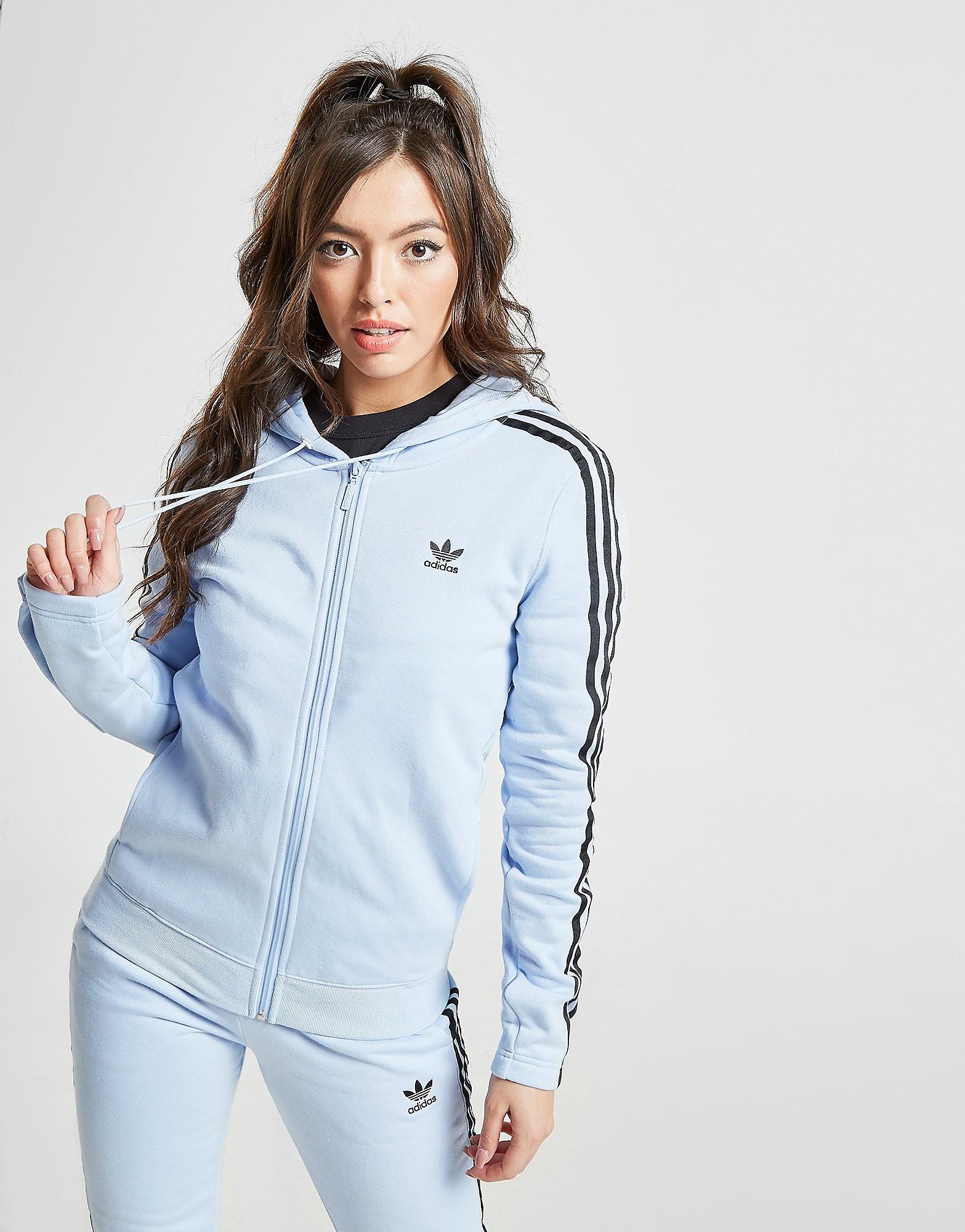 adidas Originals 3-Stripes Full Zip Hoodie Dames - Blauw - Dames