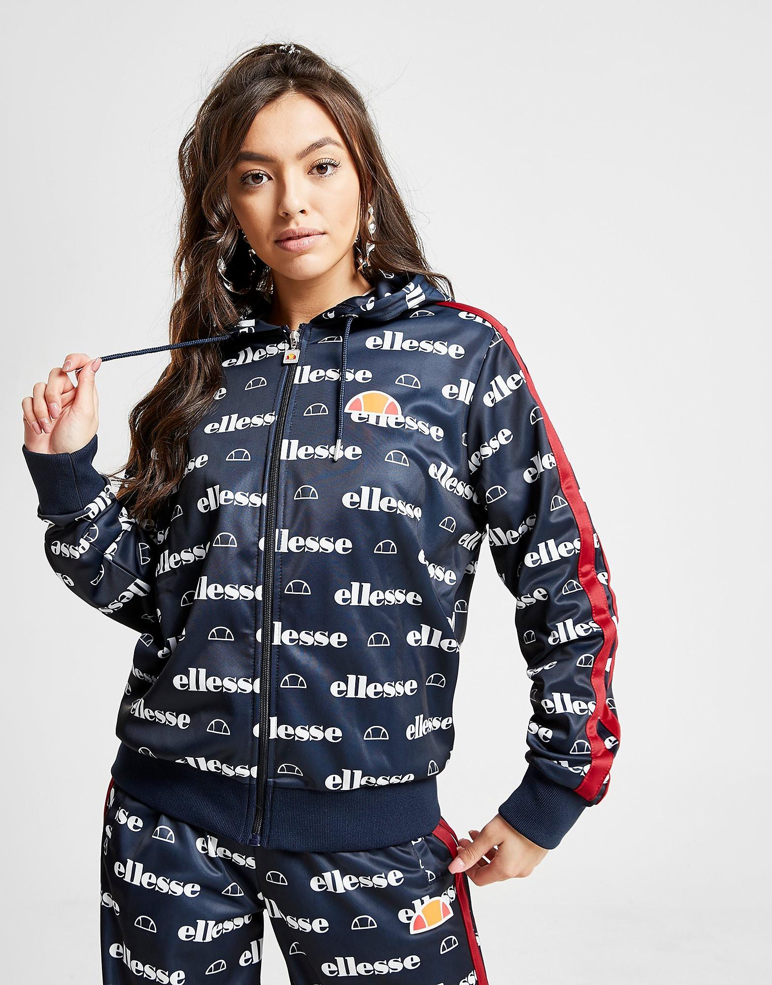 Ellesse Anne-Marie All Over Print Stripe Full Zip Hoodie - Blauw - Dames