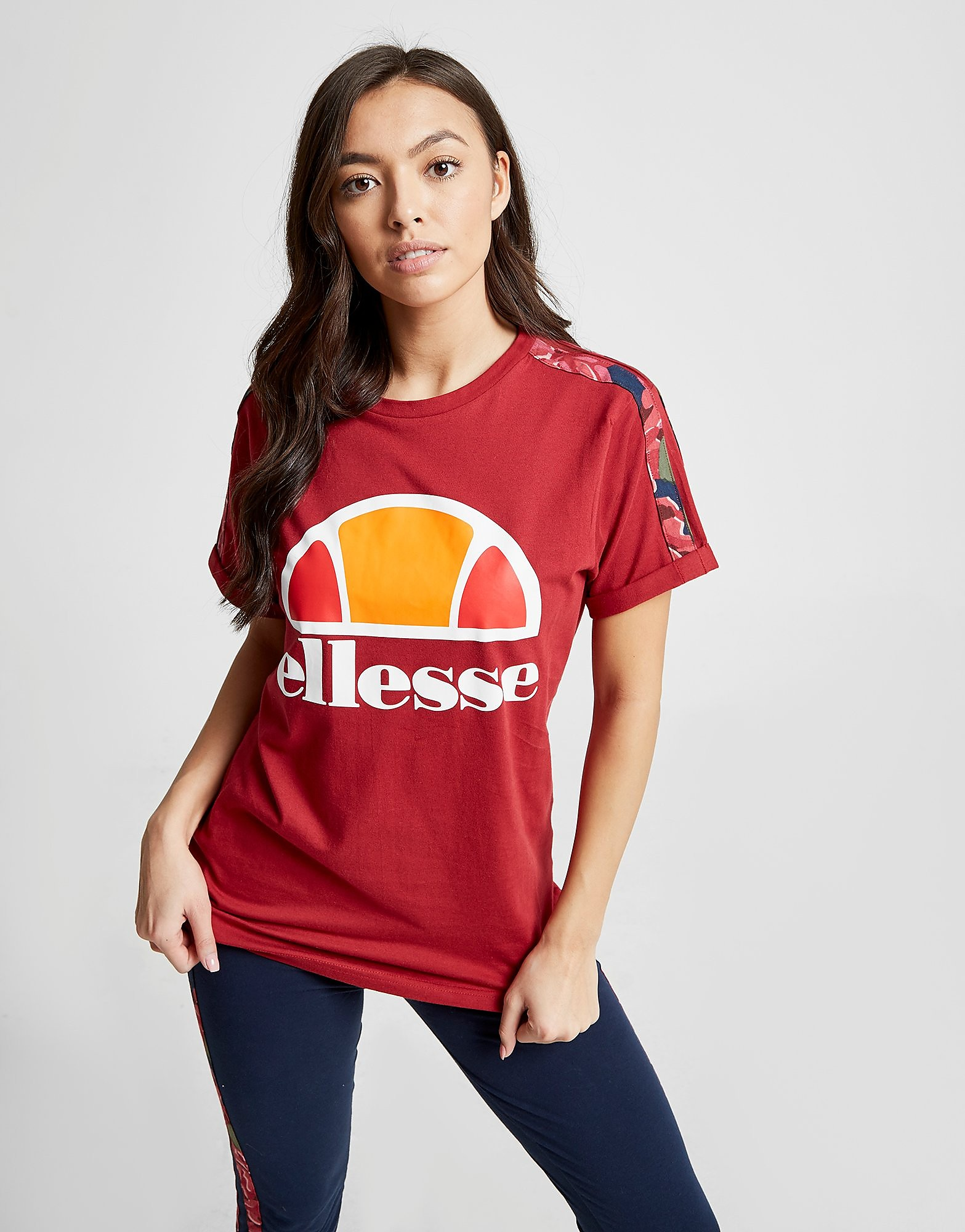 Ellesse Anne-Marie Stripe Boyfriend T-Shirt Dames - Rood - Dames