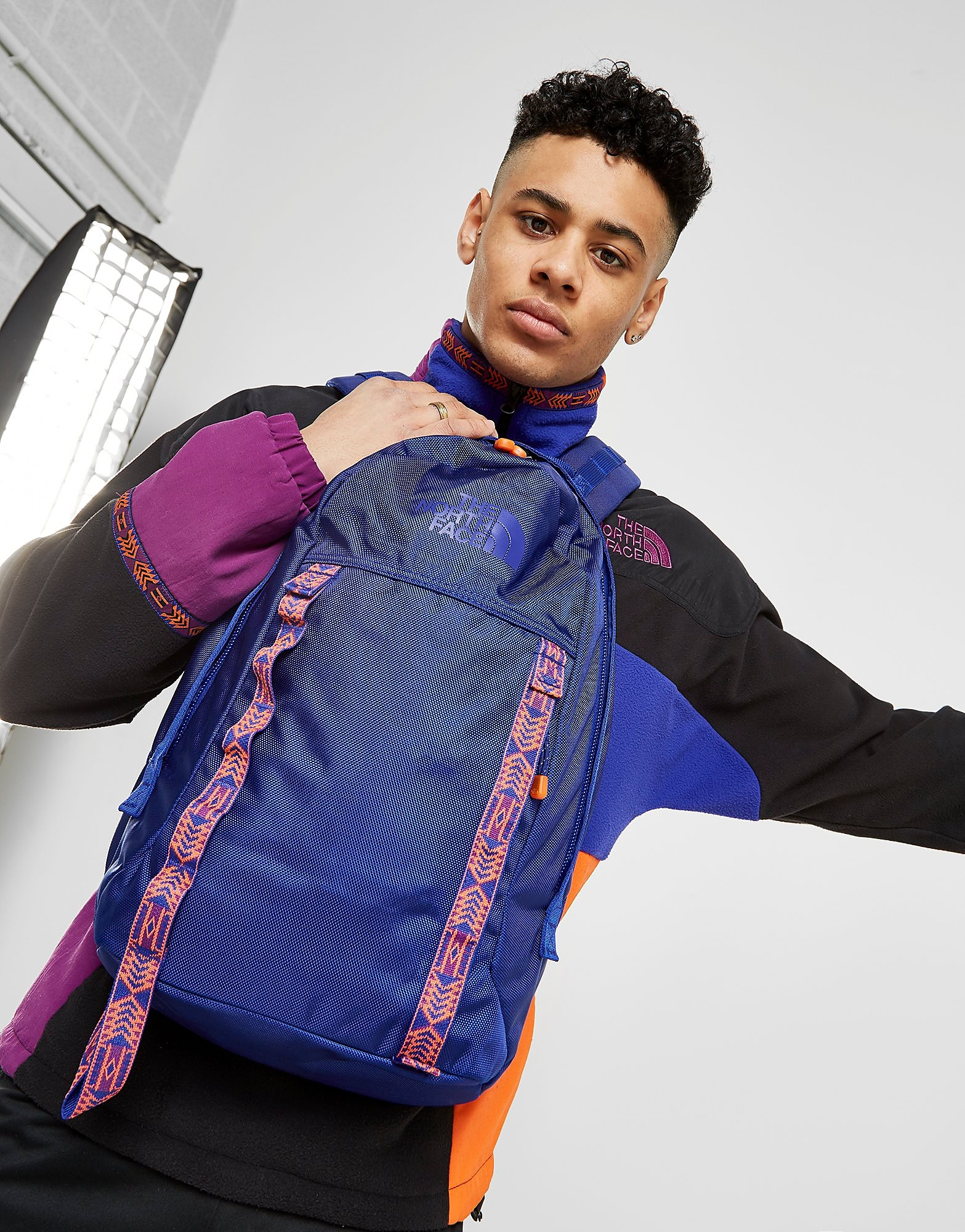 The North Face laptoptas blauw, rood en wit