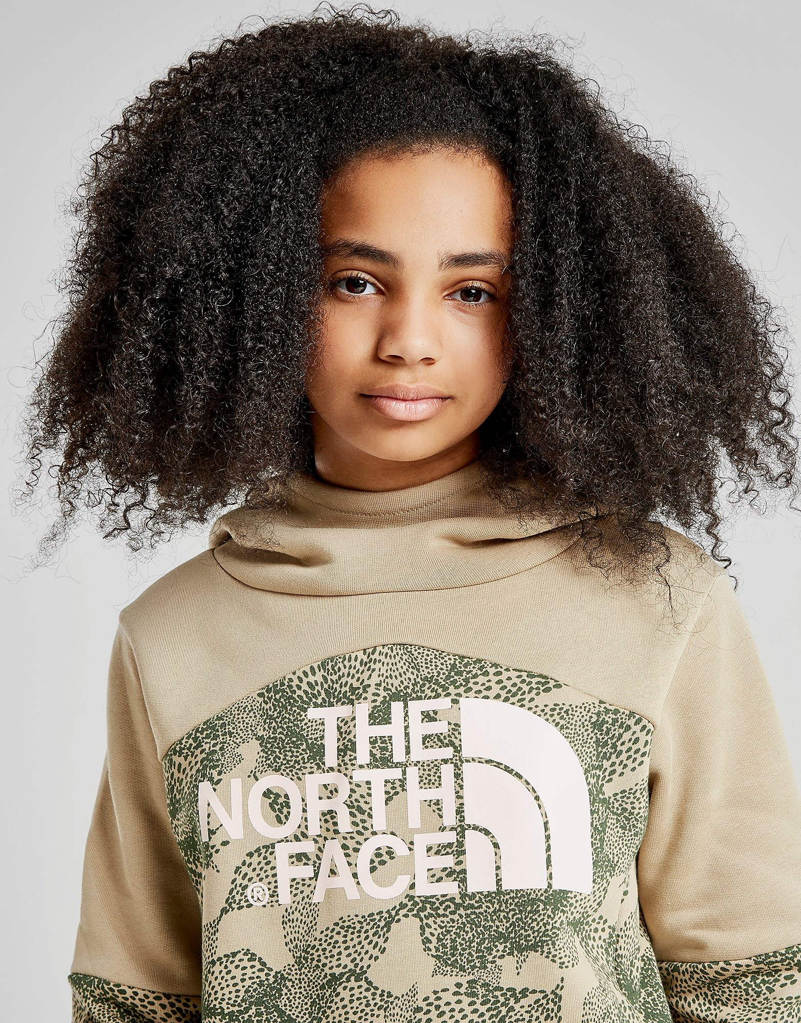 The North Face Girls' Crop All Over Print Hoodie Junior - Beige - Kind