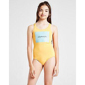 433cf461a Calvin Klein Girls  Box Logo Swimsuit Junior ...