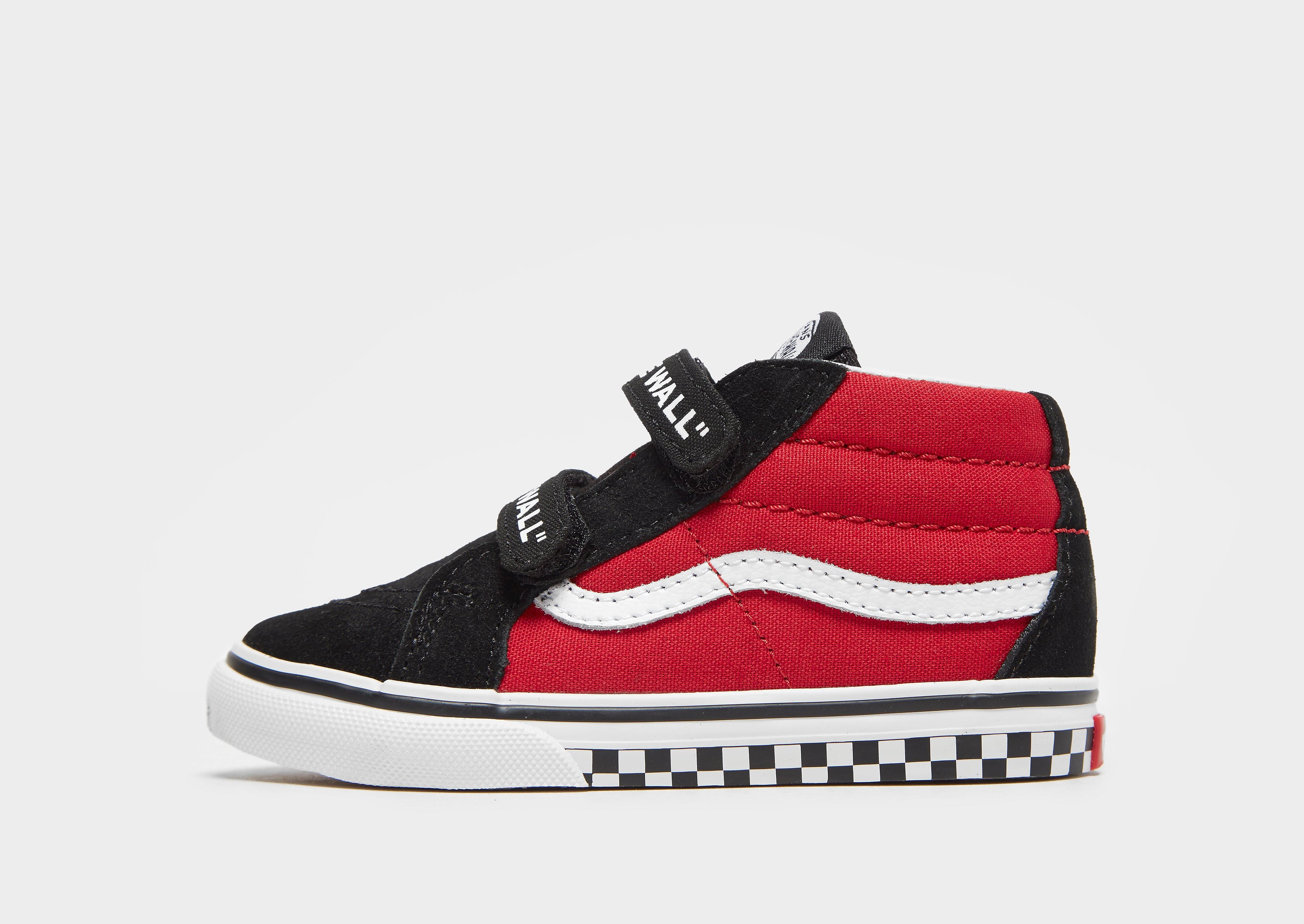 Vans Sk8 kindersneaker zwart, print en rood