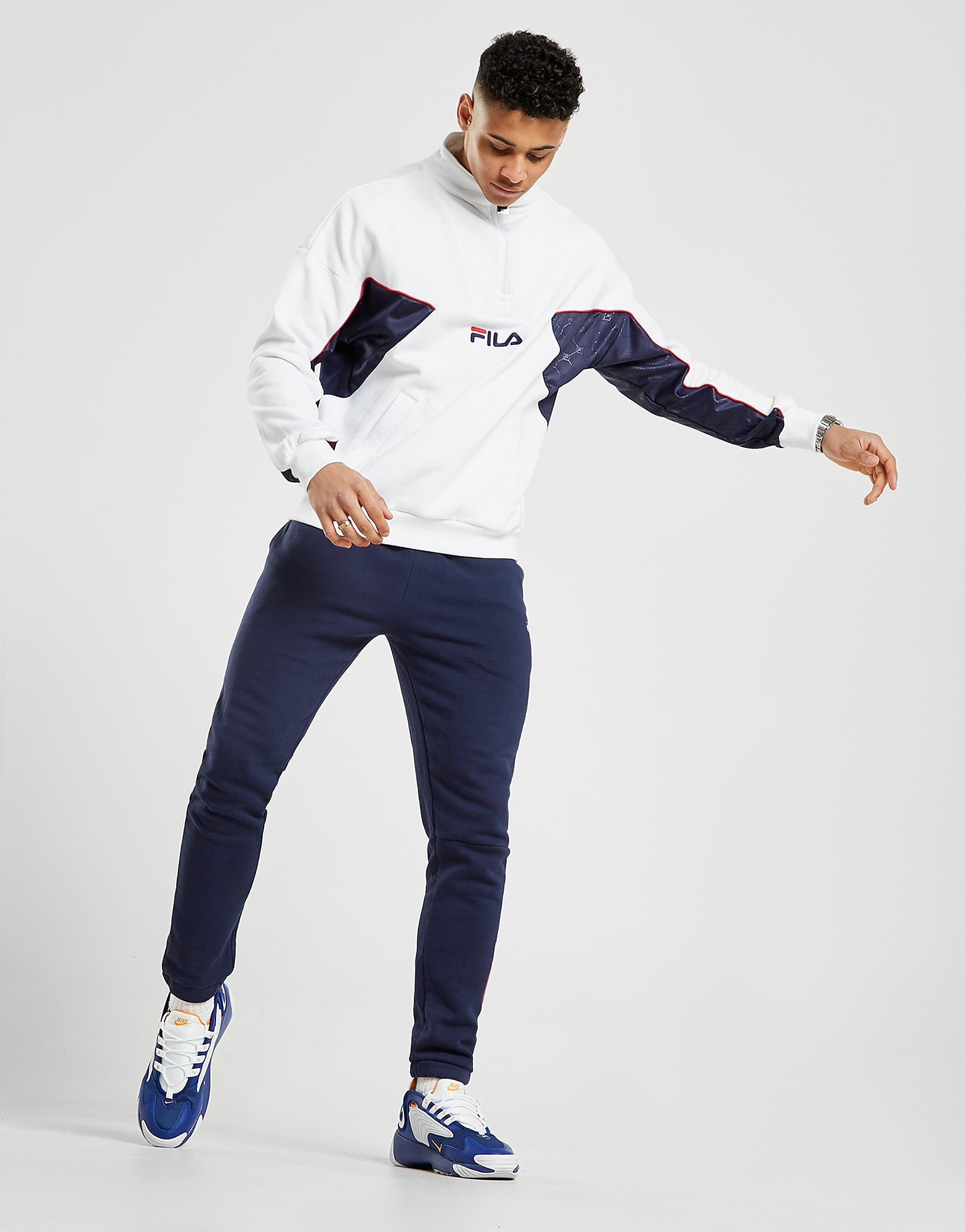 Fila Lag Mono 1/2 Zip Sweatshirt - Only at JD - Weiss - Mens, Weiss von FILA