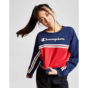 520a9ef0e3a37 Champion Logo Stripe Crew Sweatshirt ...