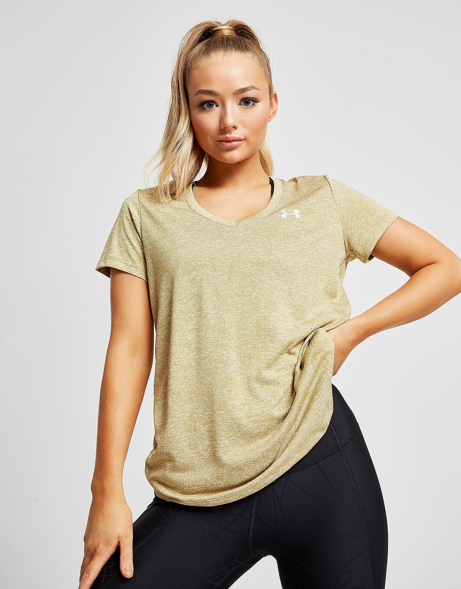 Under Armour Twist Tech V-Neck T-Shirt Dames - alleen bij JD - Groen - Dames