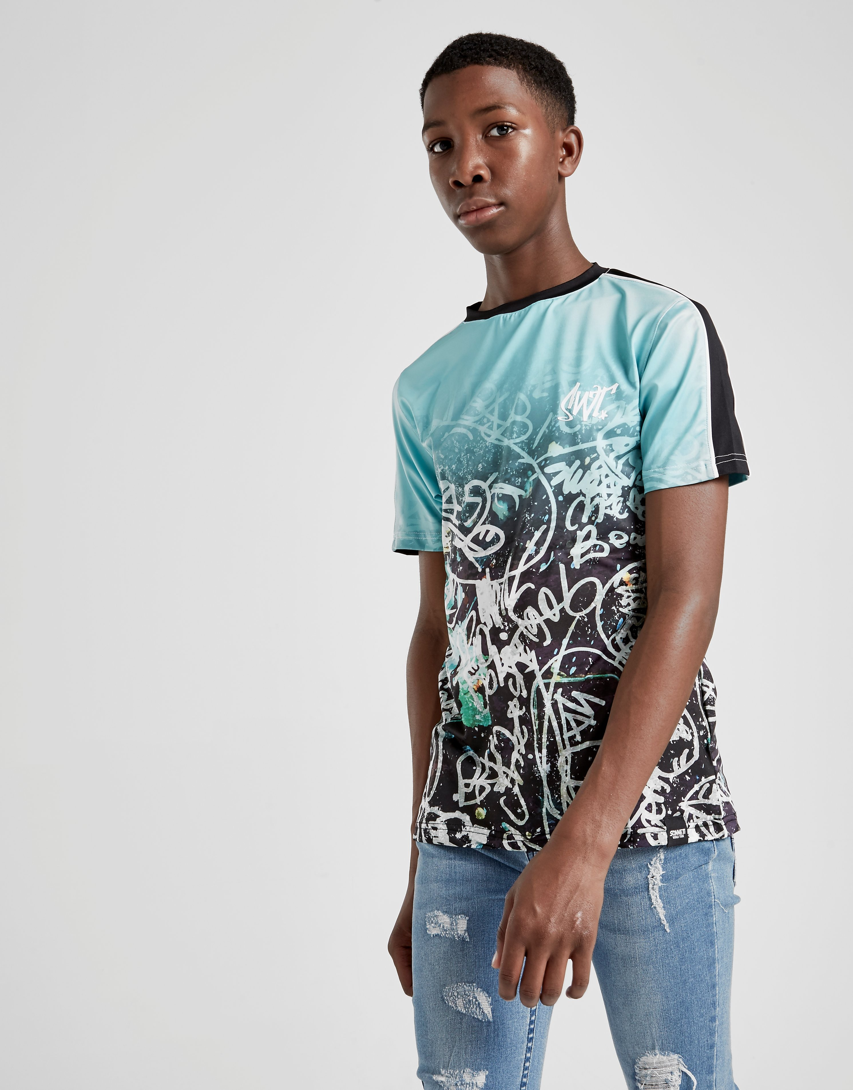 Sonneti Graffiti T-Shirt Junior - alleen bij JD - Teal/Black - Kind