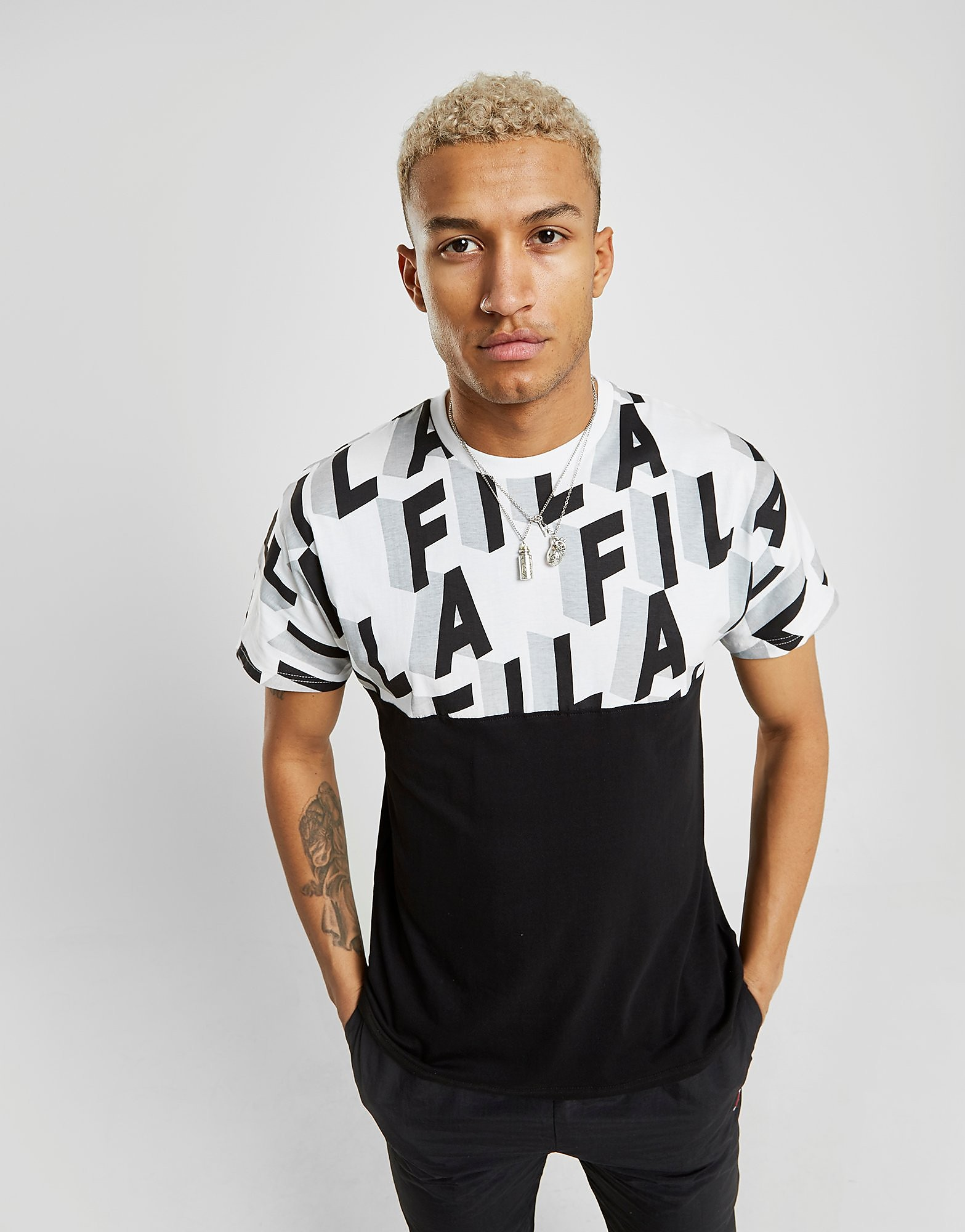 Fila Haze All Over Print T-Shirt Heren - Zwart - Heren