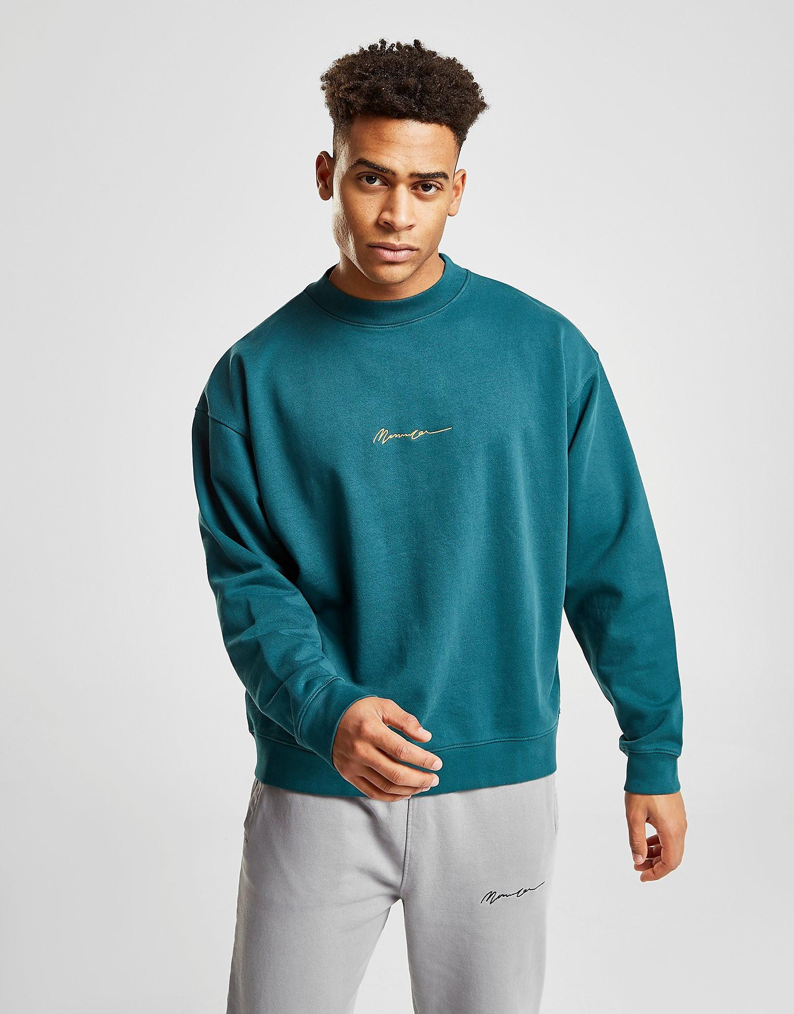 Mennace Washed Signature Sweatshirt Heren - Teal/Yellow - Heren