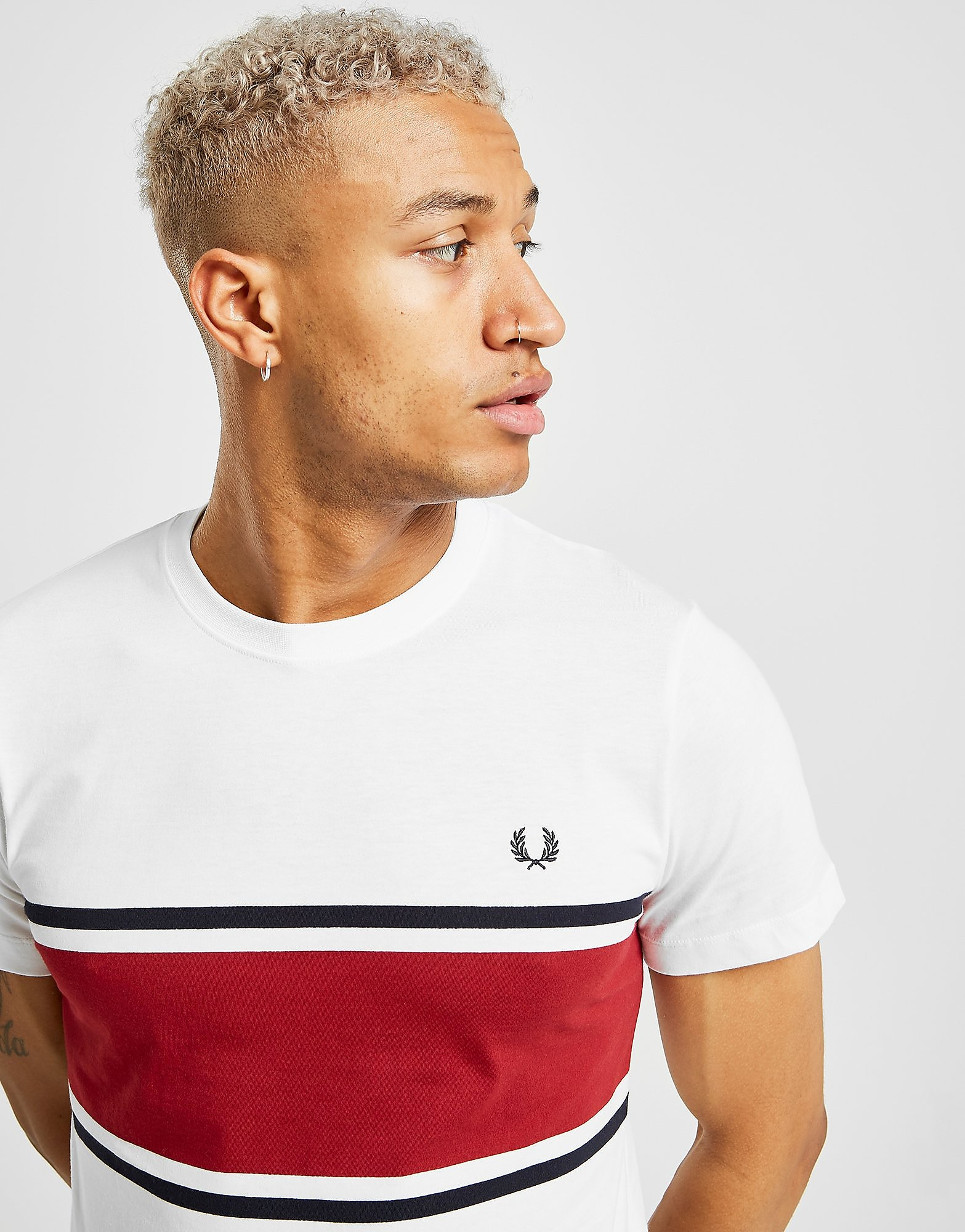 Fred Perry Colour Block Short Sleeve T-Shirt - Wit - Heren