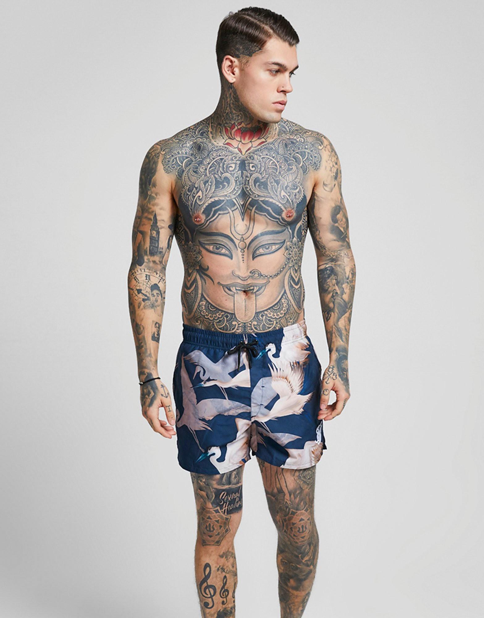 SikSilk Heron Swim Shorts Heren - Blauw - Heren