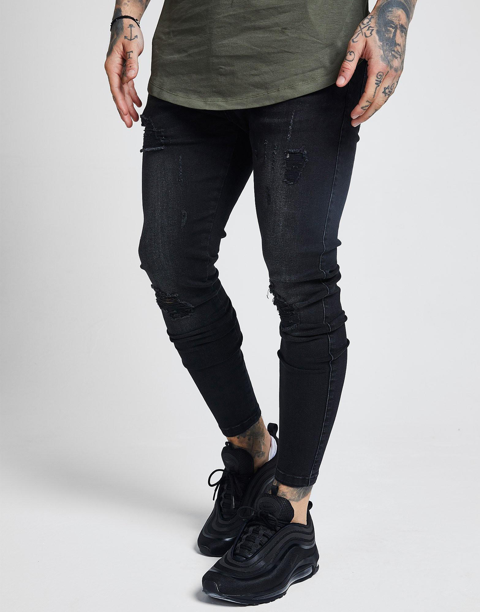 SikSilk Rip Washed Skinny Jeans Heren Zwart Heren Zwart