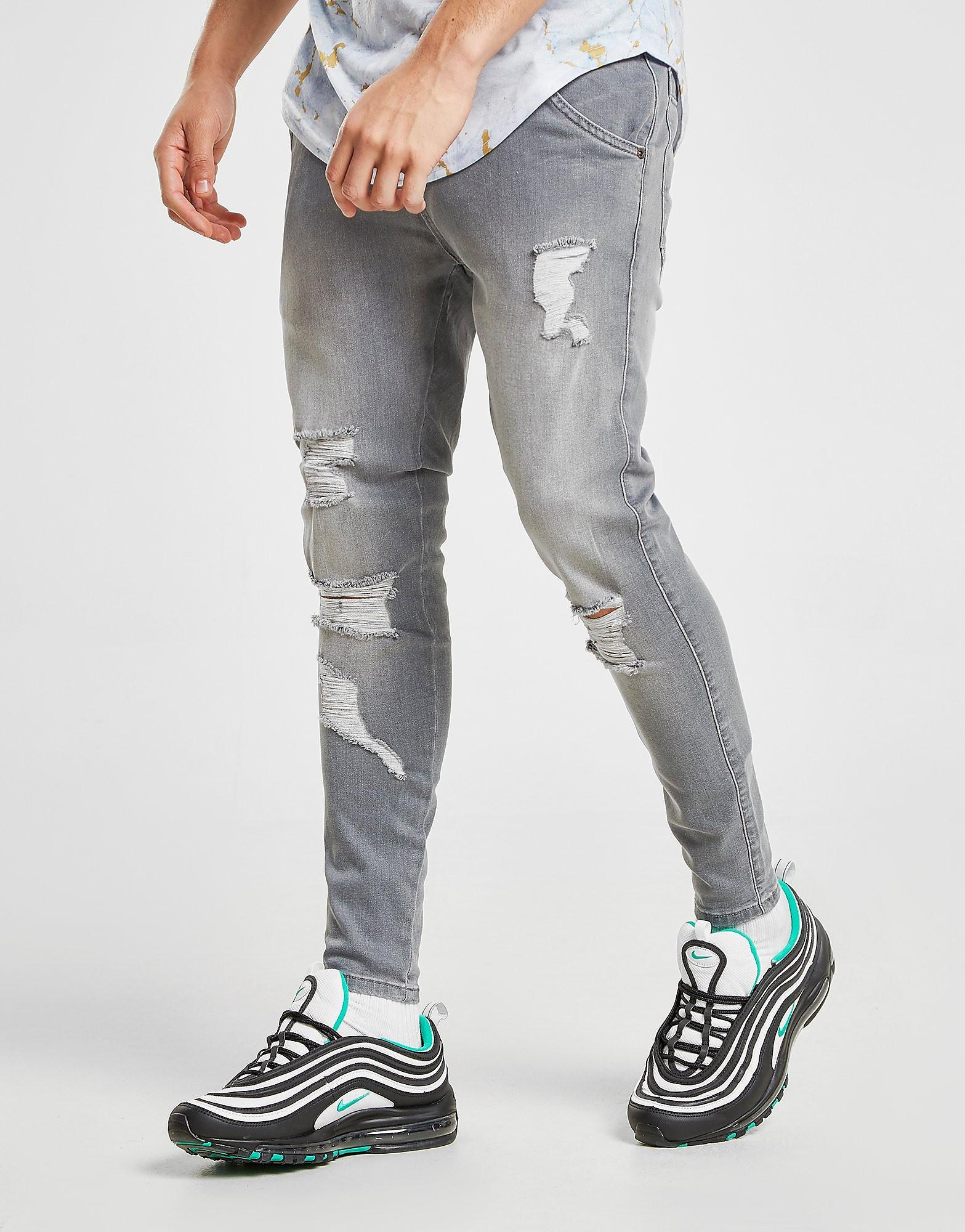 SikSilk Ripped Jeans Heren - Grijs - Heren