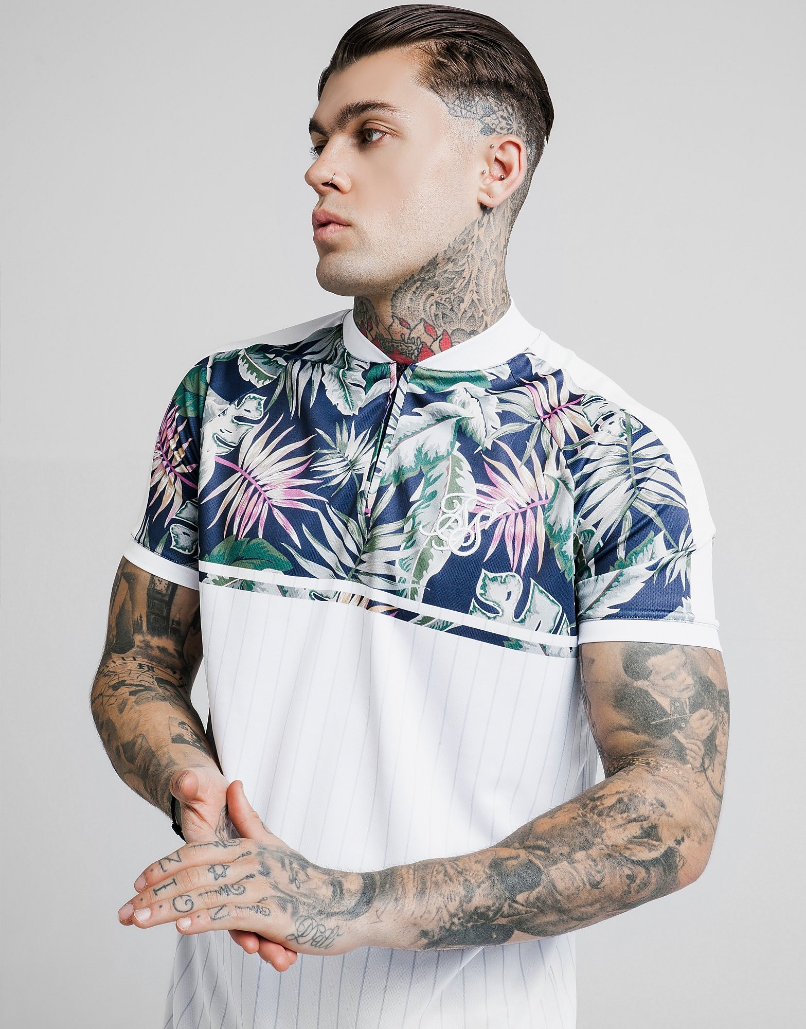 SikSilk Basketball Floral T-Shirt Heren - Wit - Heren