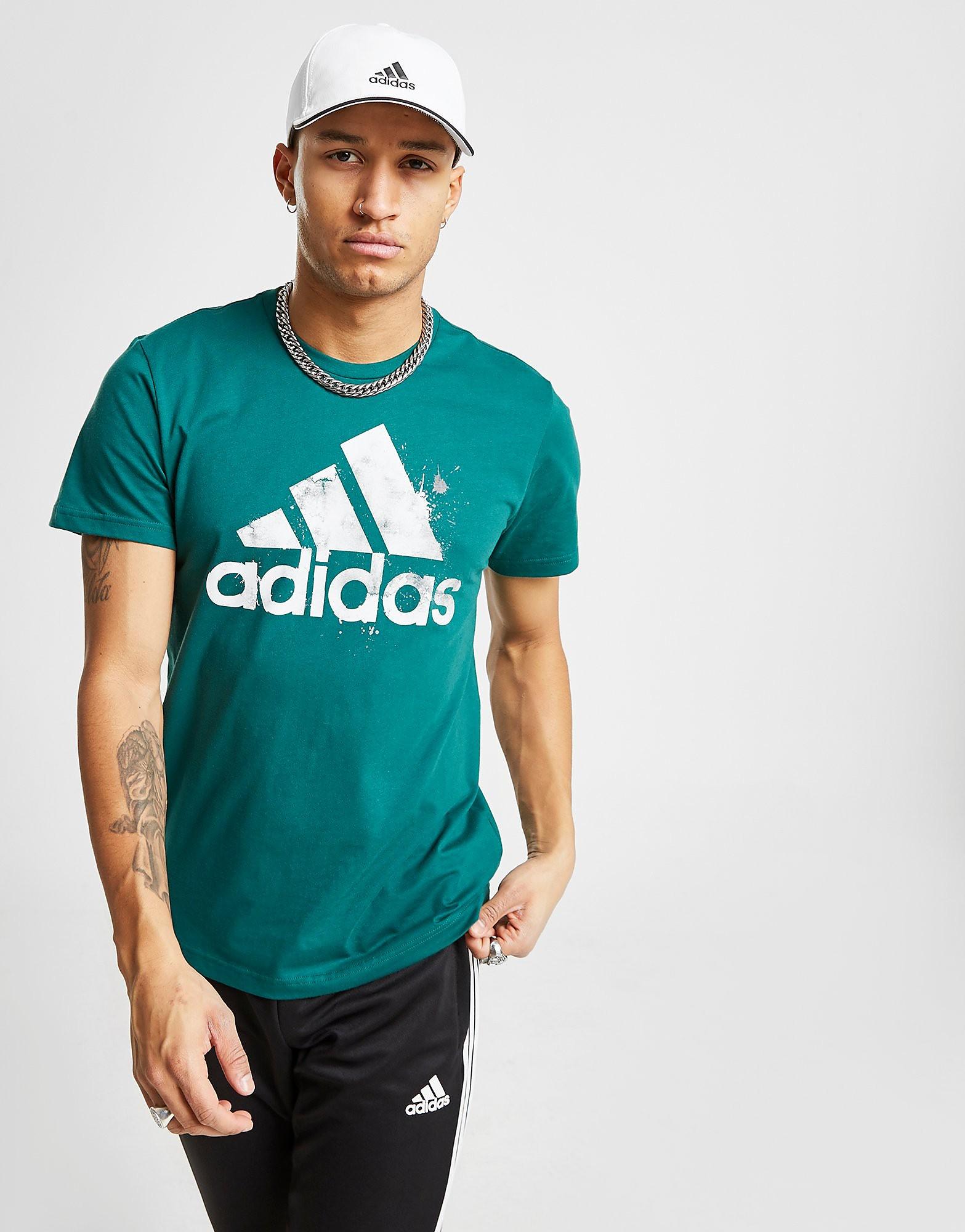 adidas Splatter T-Shirt Heren - alleen bij JD - Groen - Heren
