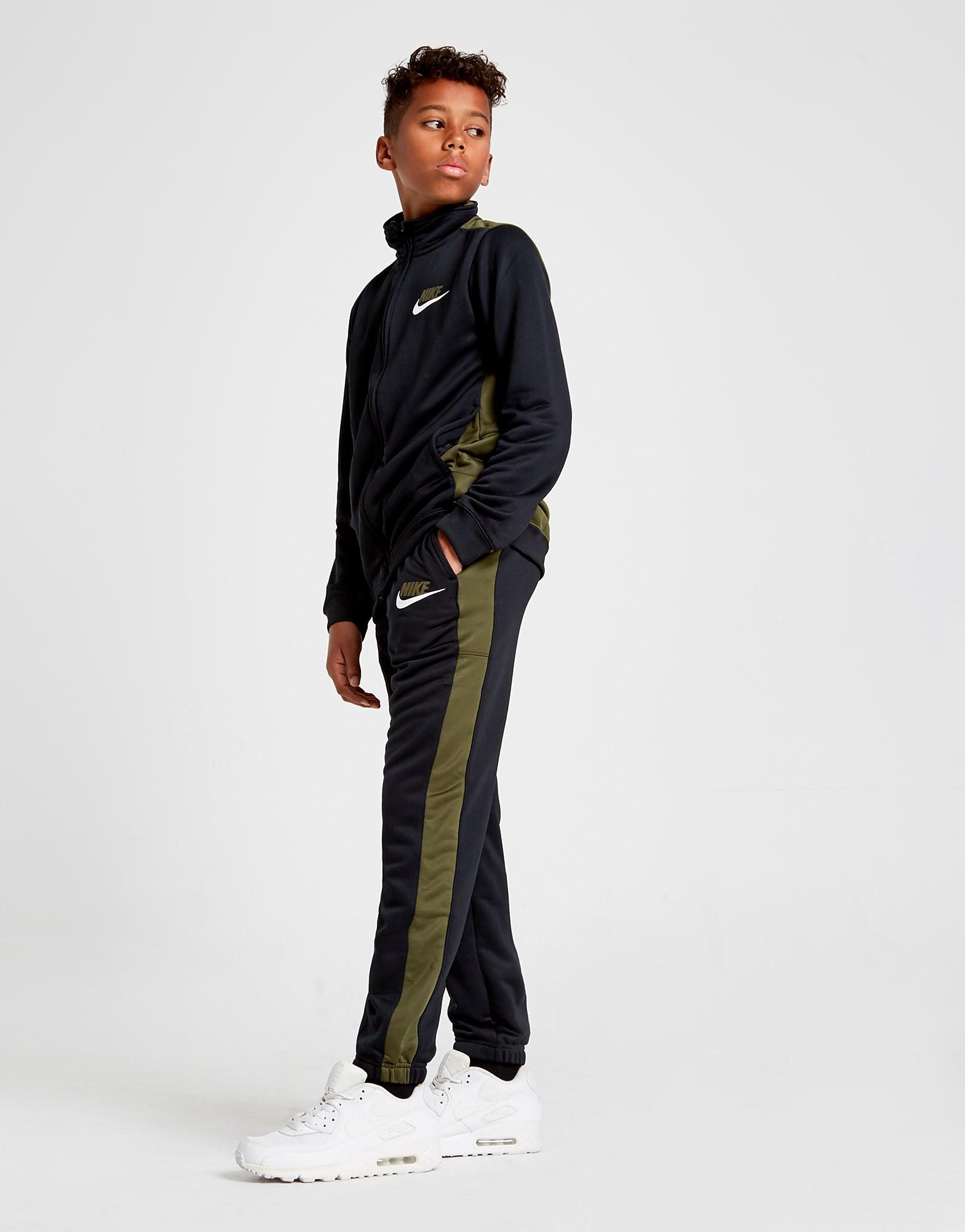 Nike Colour Block Poly Tracksuit Junior - Khaki/Black - Kind