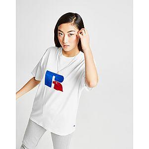Russell Athletic Flock Logo Boyfriend T-Shirt ... ace50da00