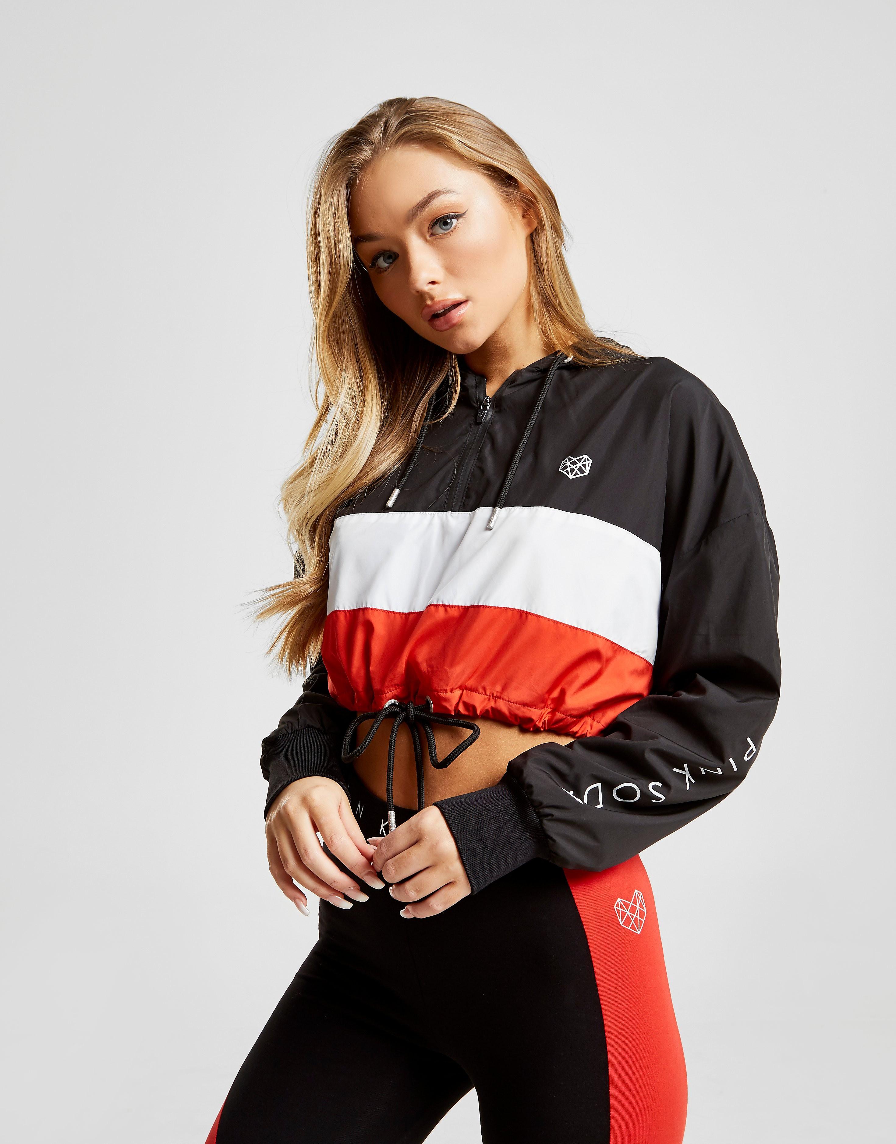 Pink Soda Sport Colour Block Crop Jacket - alleen bij JD - Zwart - Dames