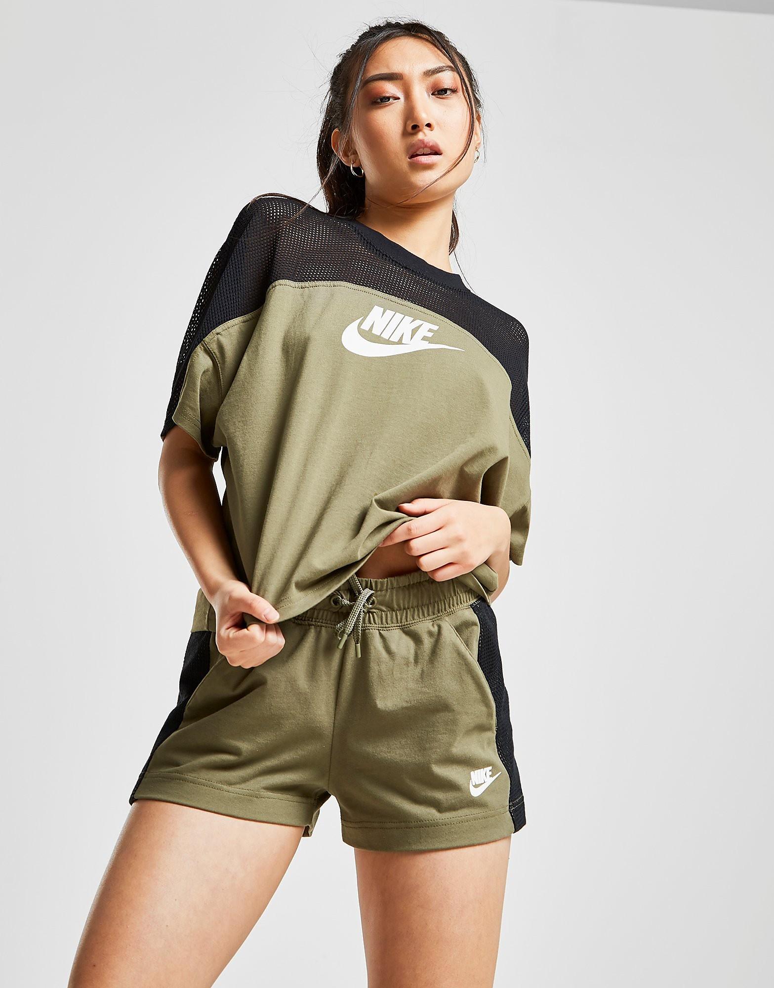 Nike Colour Block Mesh Shorts Heren Khaki/Black Dames