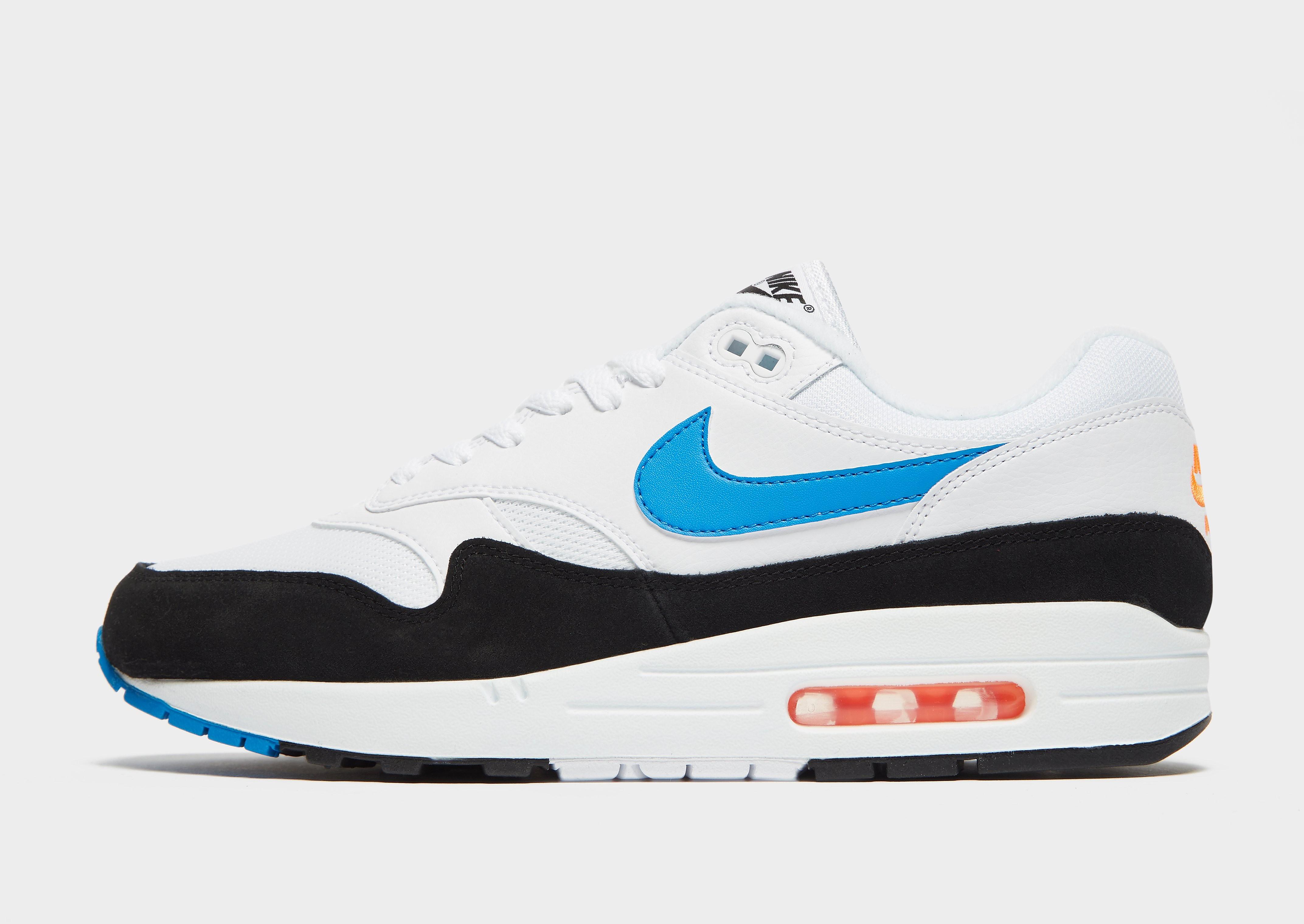 Nike Air Max 1 herensneaker wit, zwart en blauw