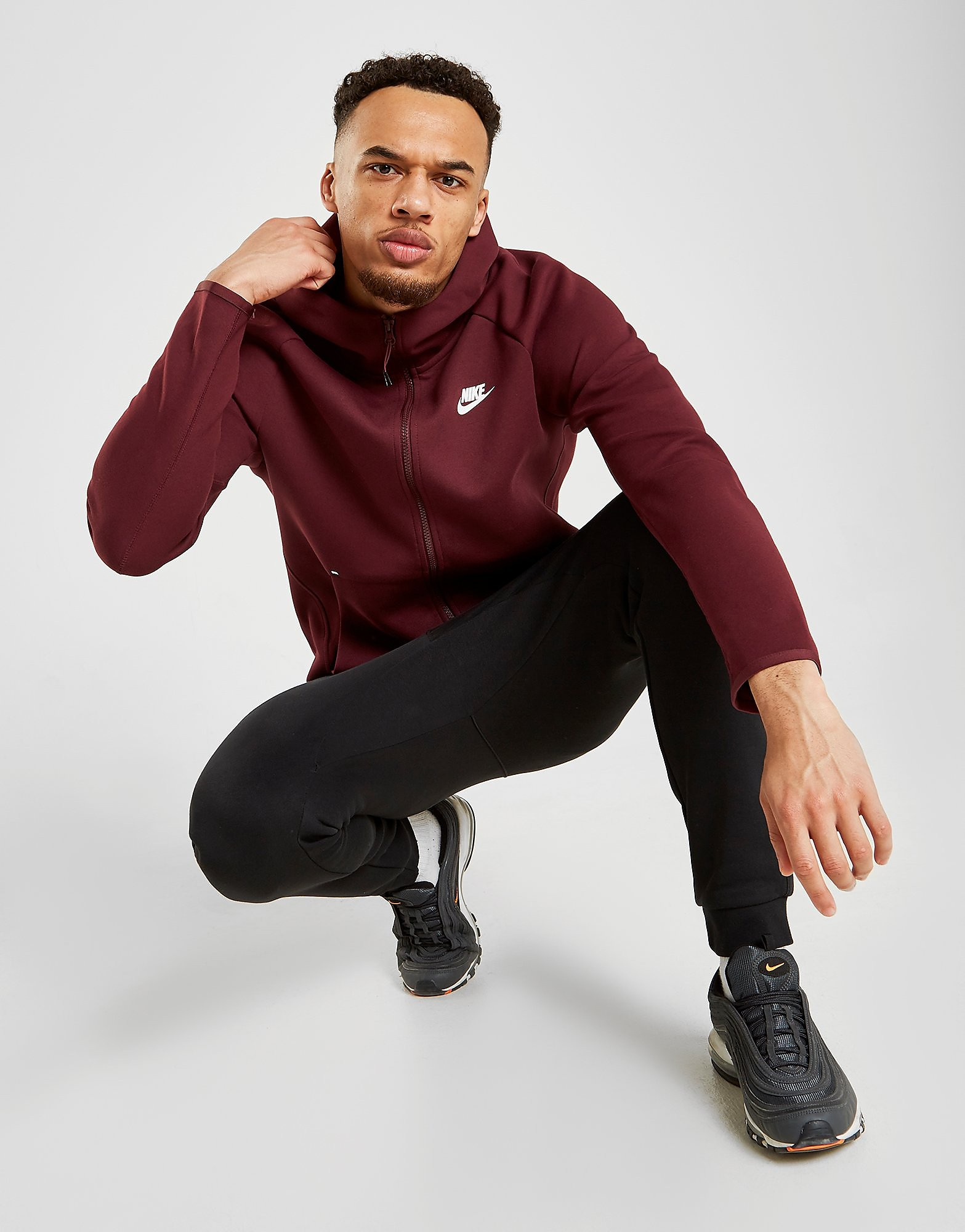 Nike Tech Fleece Windrunner Hoodie Heren - Maroon/White - Heren