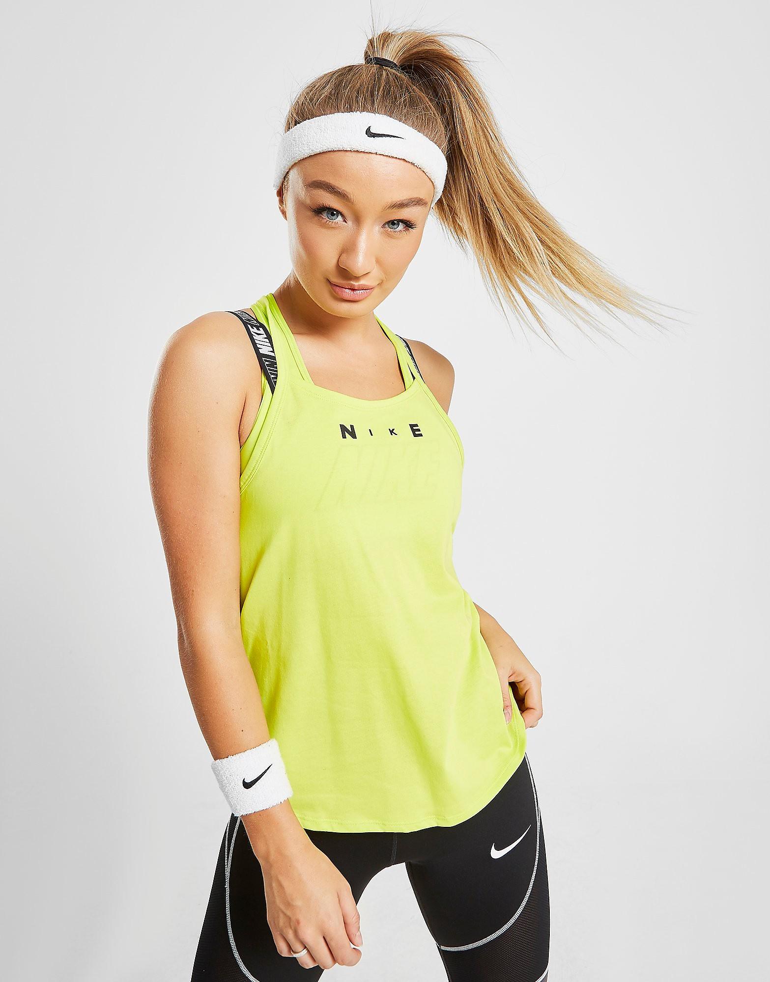 Nike Training Sport Elastika Tank Top Dames - Geel - Dames