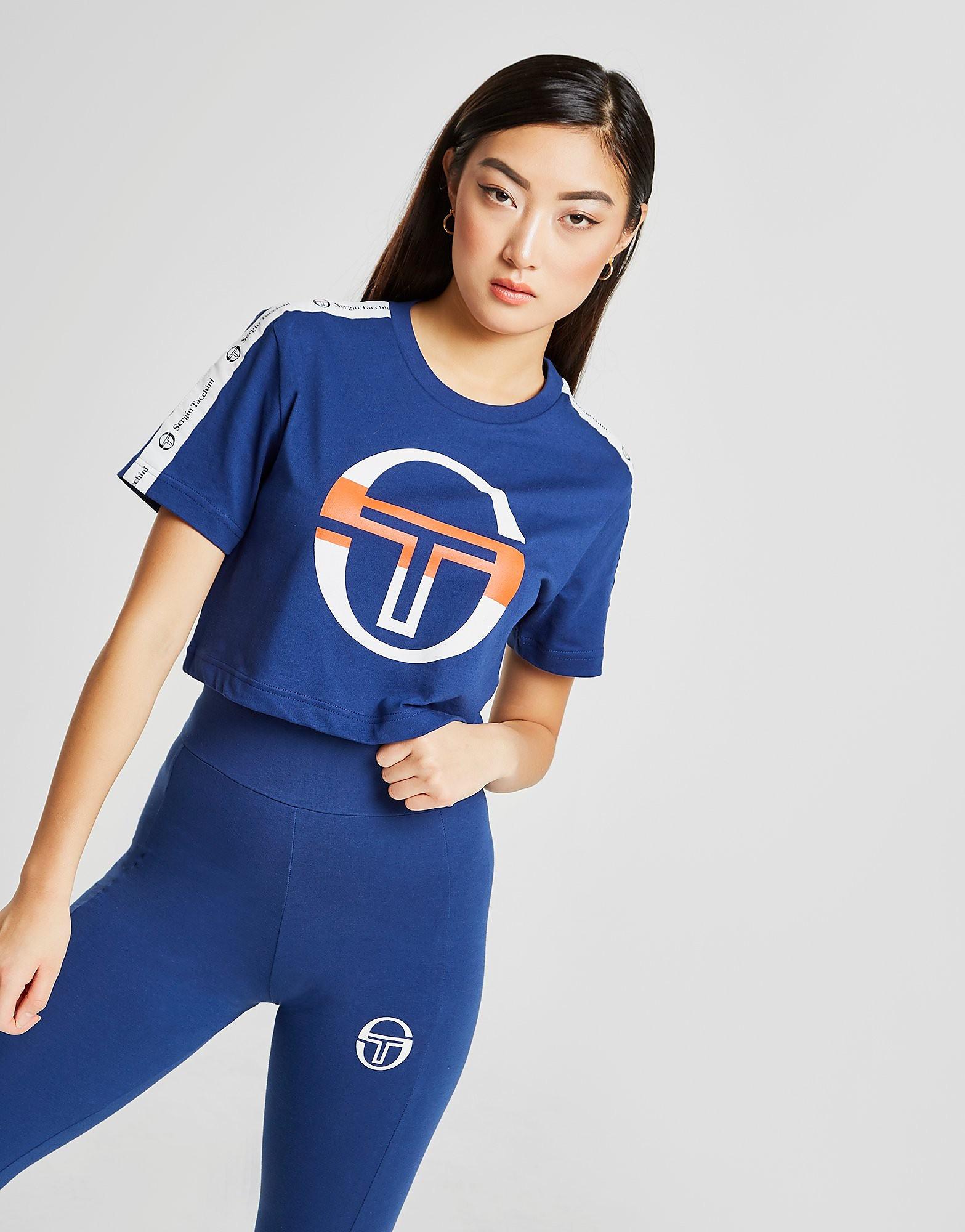 Sergio Tacchini Tape Crop T-Shirt - alleen bij JD - Blauw - Dames