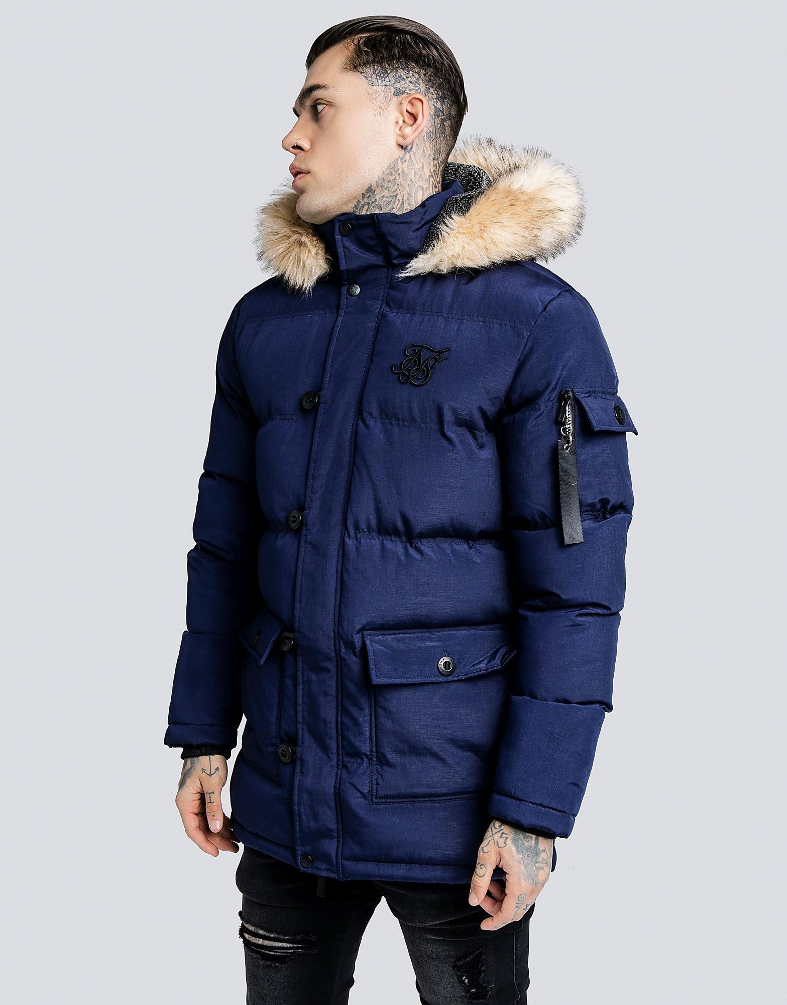 SikSilk Puffer Parka Jacket - Blauw - Heren