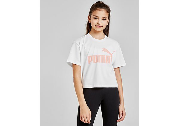 Puma Girls' Core Crop T-Shirt Junior - White/Pink - Kind