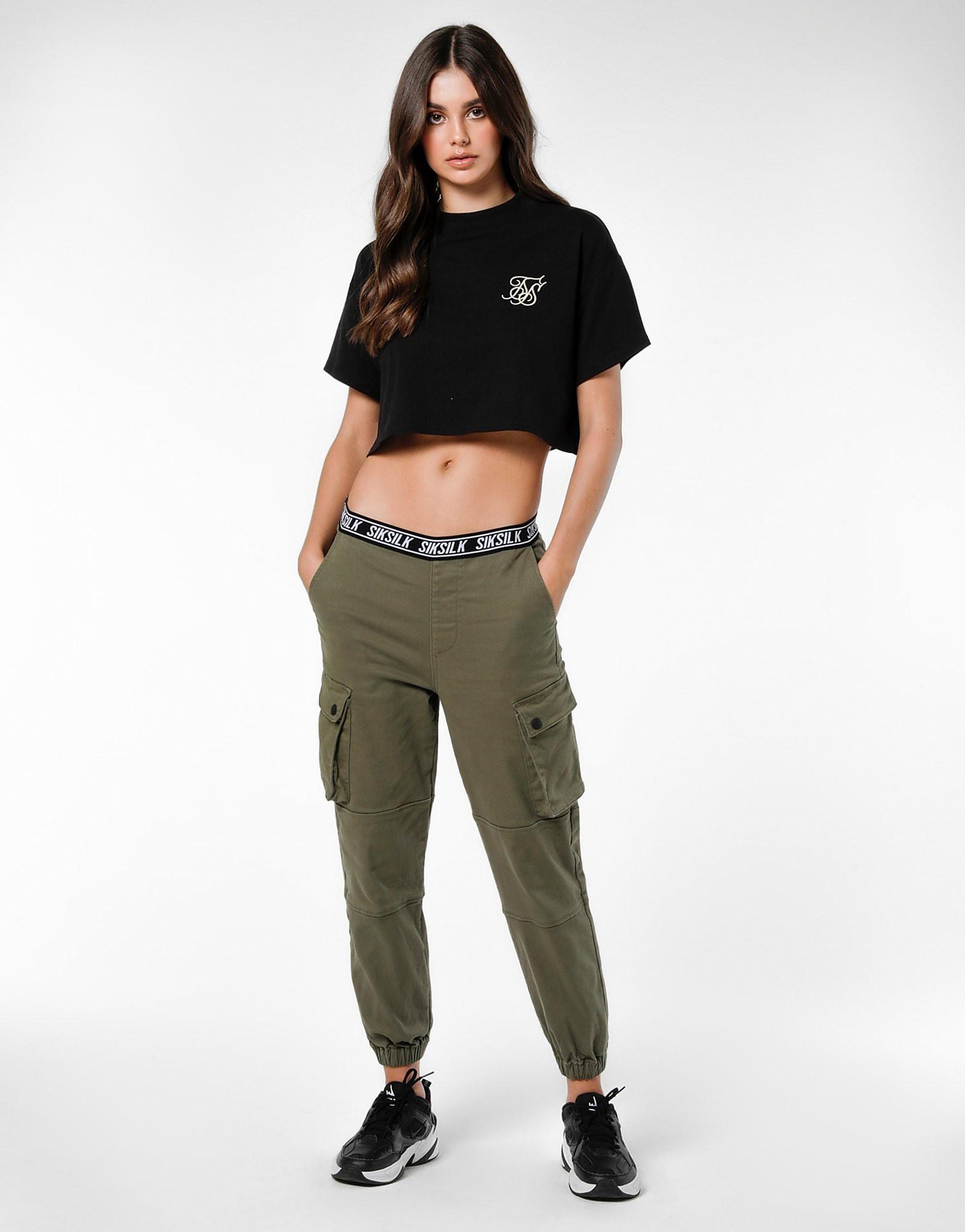 SikSilk Cargo Pants Dames - alleen bij JD - Khaki/Black/White - Dames