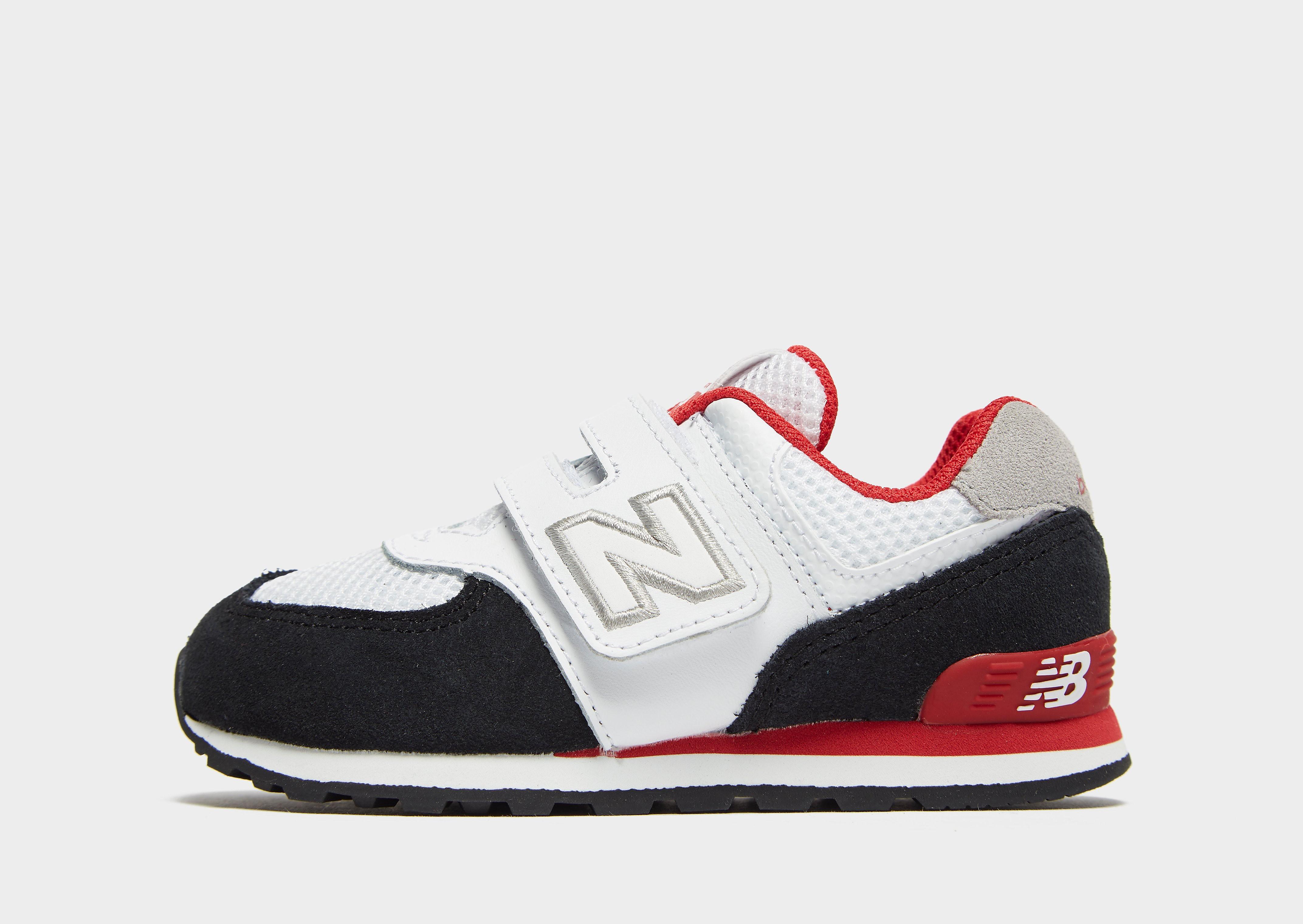 New Balance 574 kindersneaker wit, zwart en rood