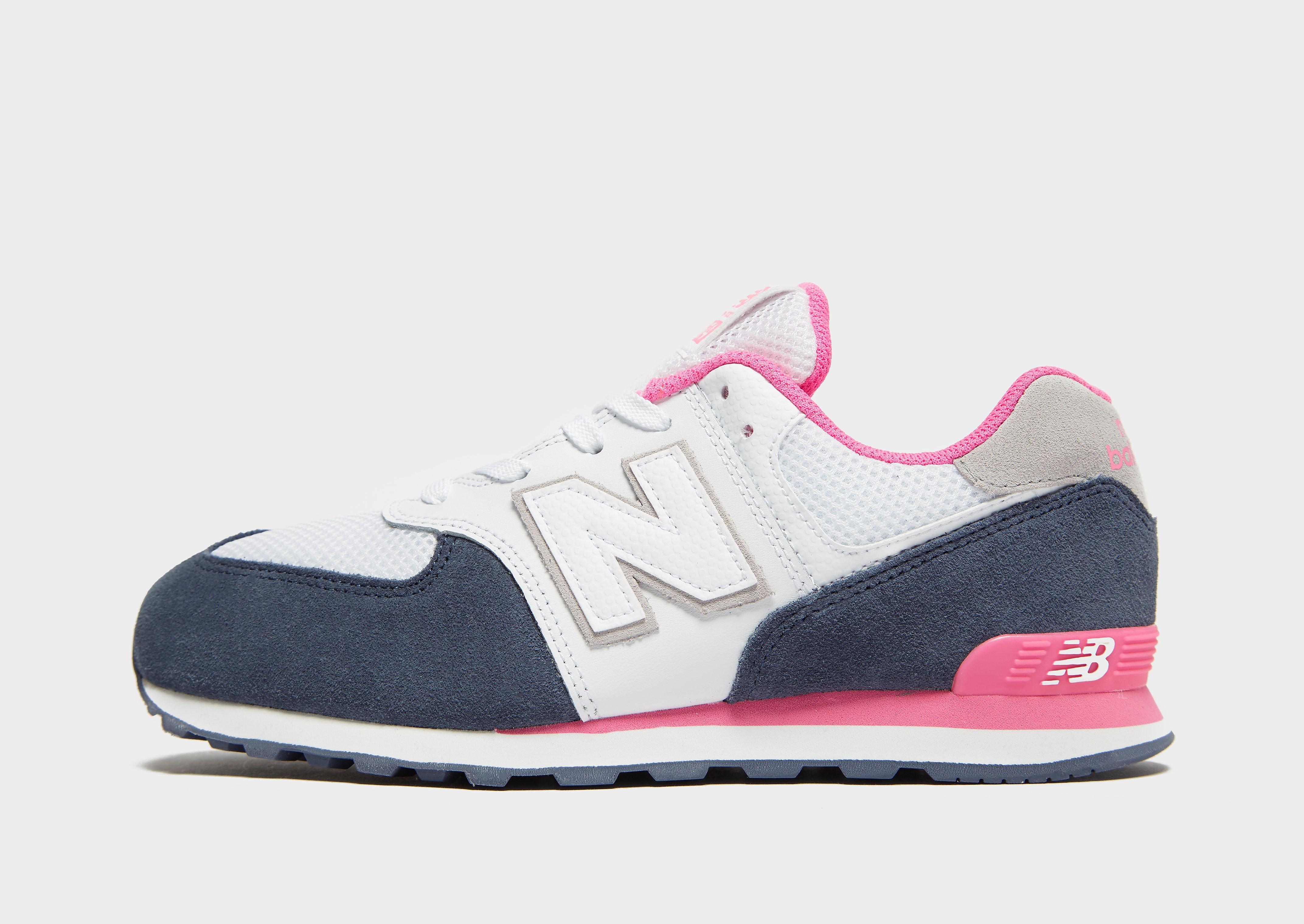 New Balance 574 kindersneaker wit, blauw en roze
