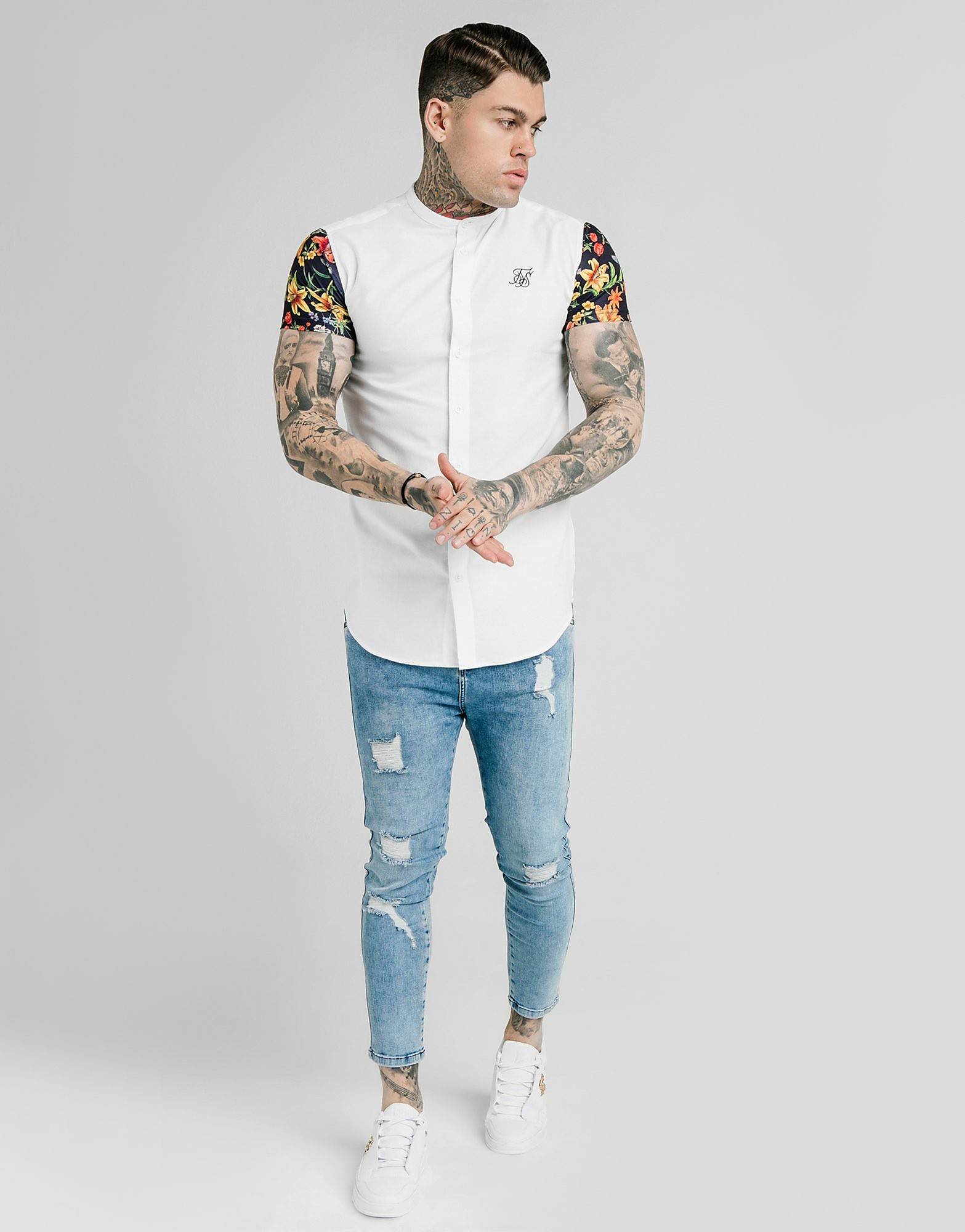 SikSilk Short Sleeve Shirt Heren - alleen bij JD - Wit - Heren