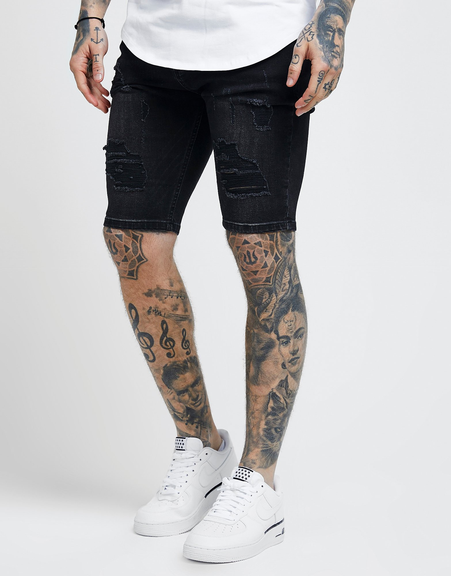 SikSilk Ripped Denim Shorts Heren - Zwart - Heren