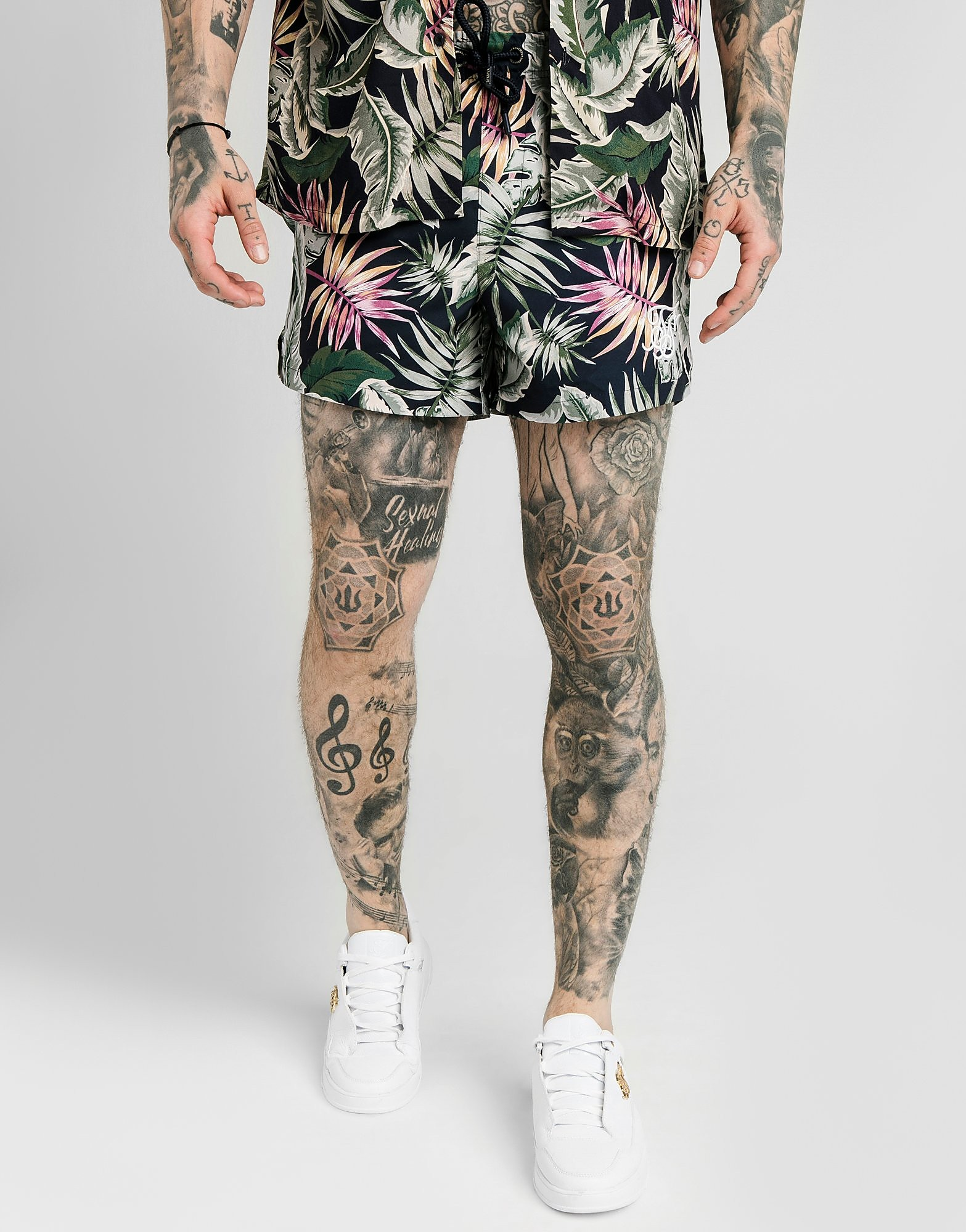 SikSilk Vine All Over Print Swim Shorts - alleen bij JD - Blauw - Heren