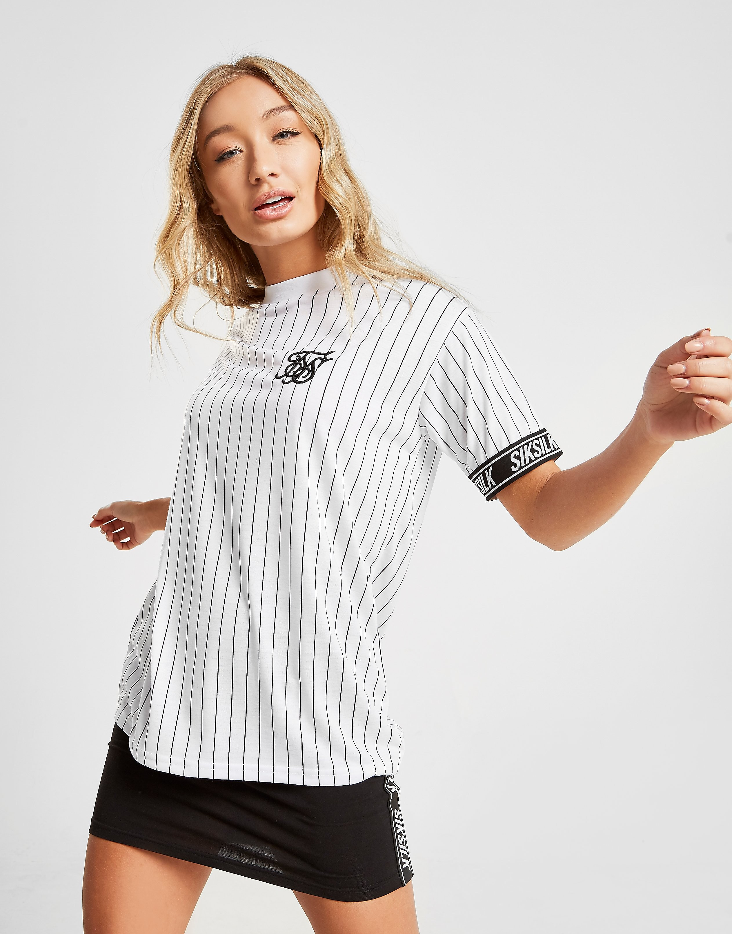 SikSilk Baseball Tape T-Shirt Dames - alleen bij JD - Wit - Dames