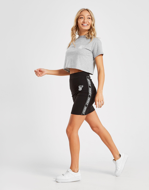 SikSilk Crop T-Shirt Dames - alleen bij JD - Grijs - Dames