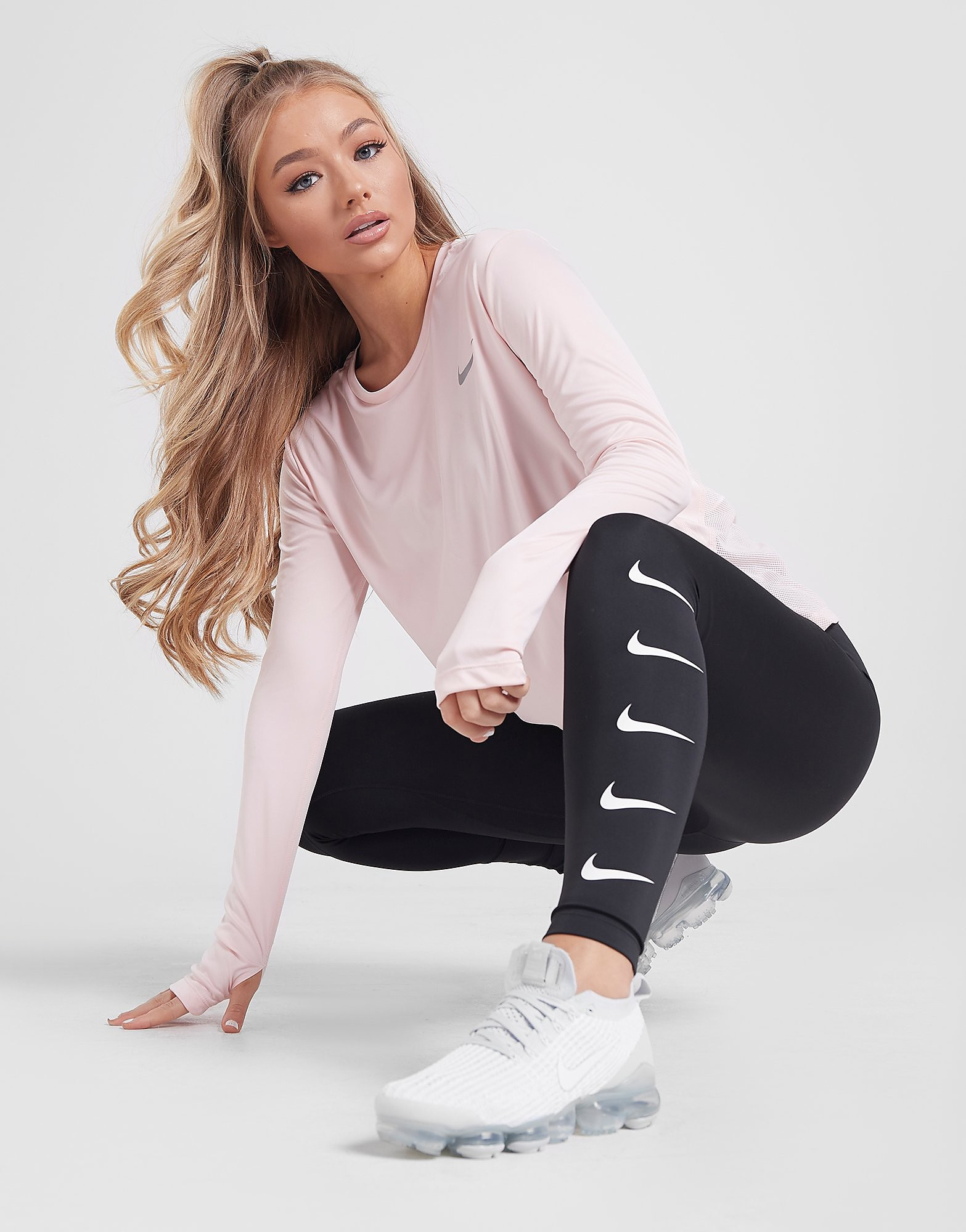 Nike Running Repeat Swoosh Tights Dames Zwart Dames Zwart