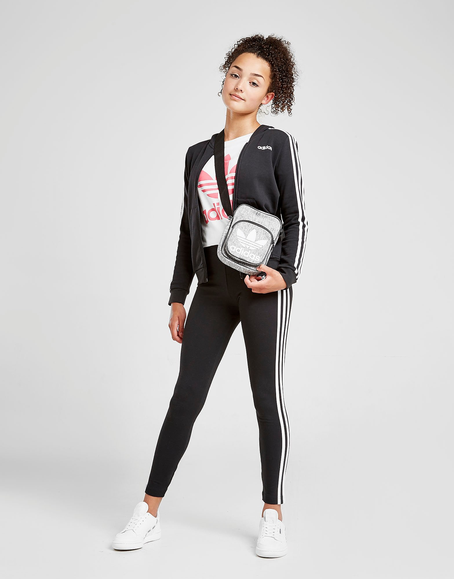 adidas Girls' Core Badge of Sport Full Zip Hoodie Junior Zwart Kind