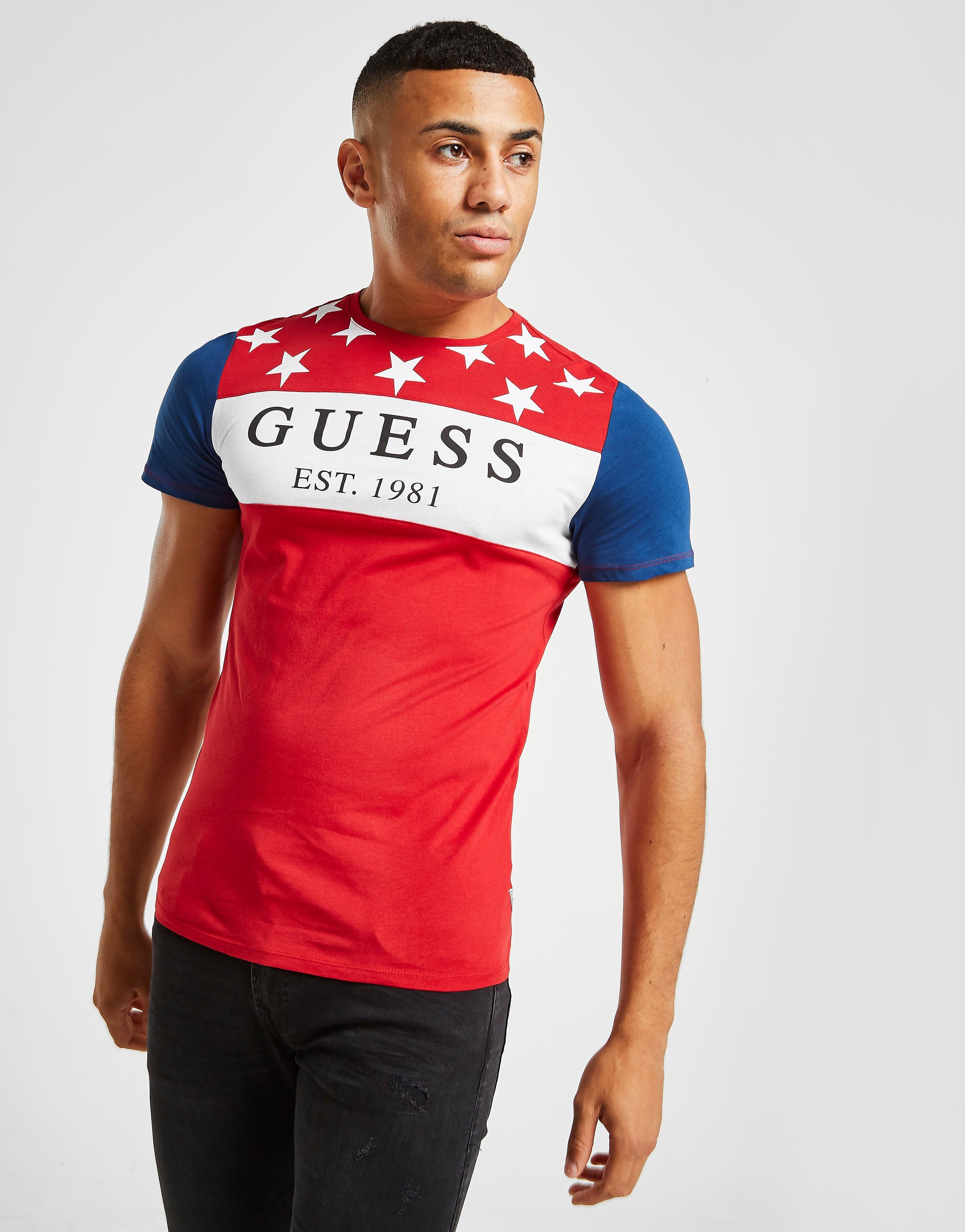 Guess T-Shirt Stars & Stripes Colour Block Homme - Rouge, Rouge