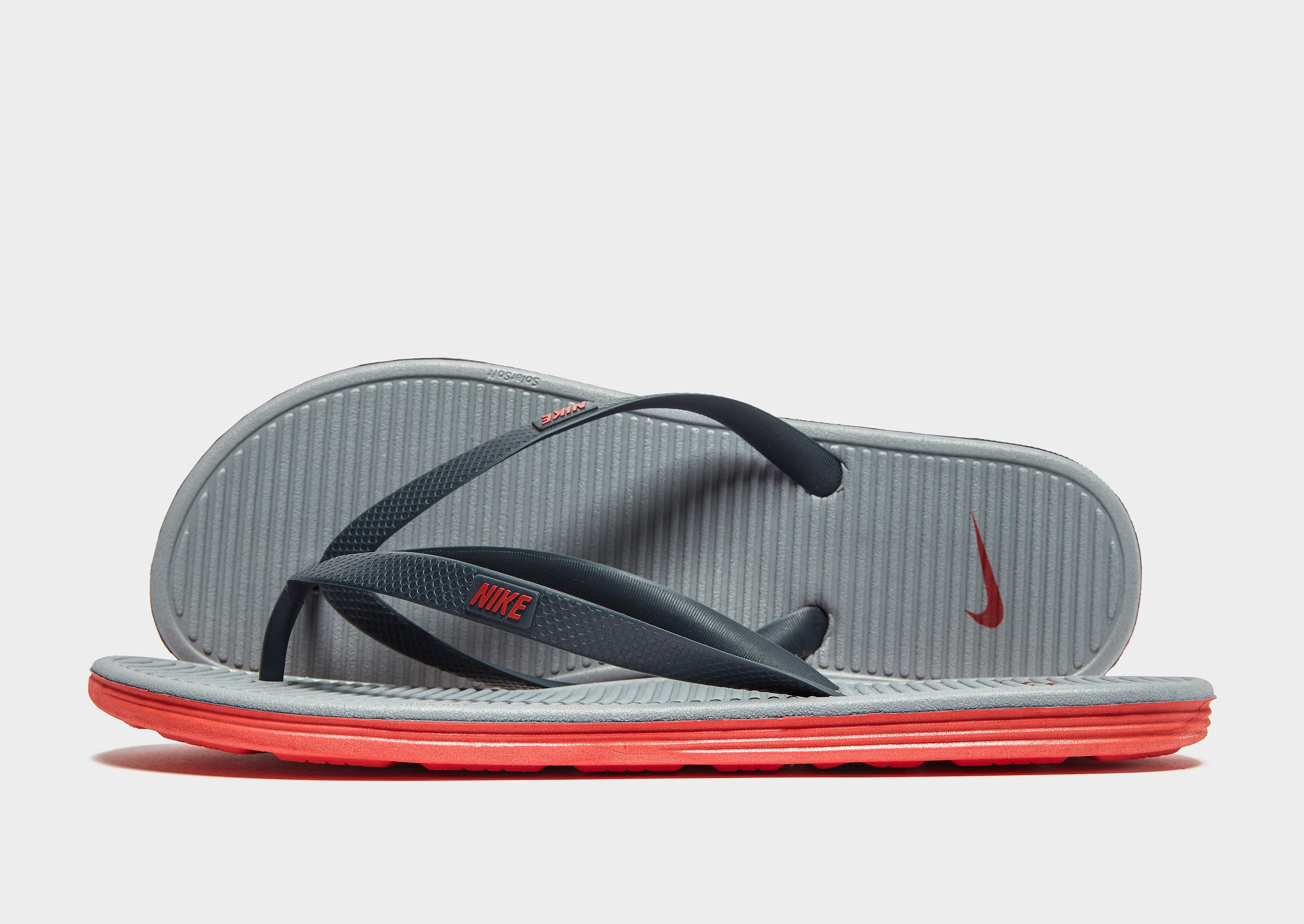 Nike Solarsoft II Flip Flops - Charcoal Grey/ Challenge Red - Mens, Charcoal Grey/ Challenge Red