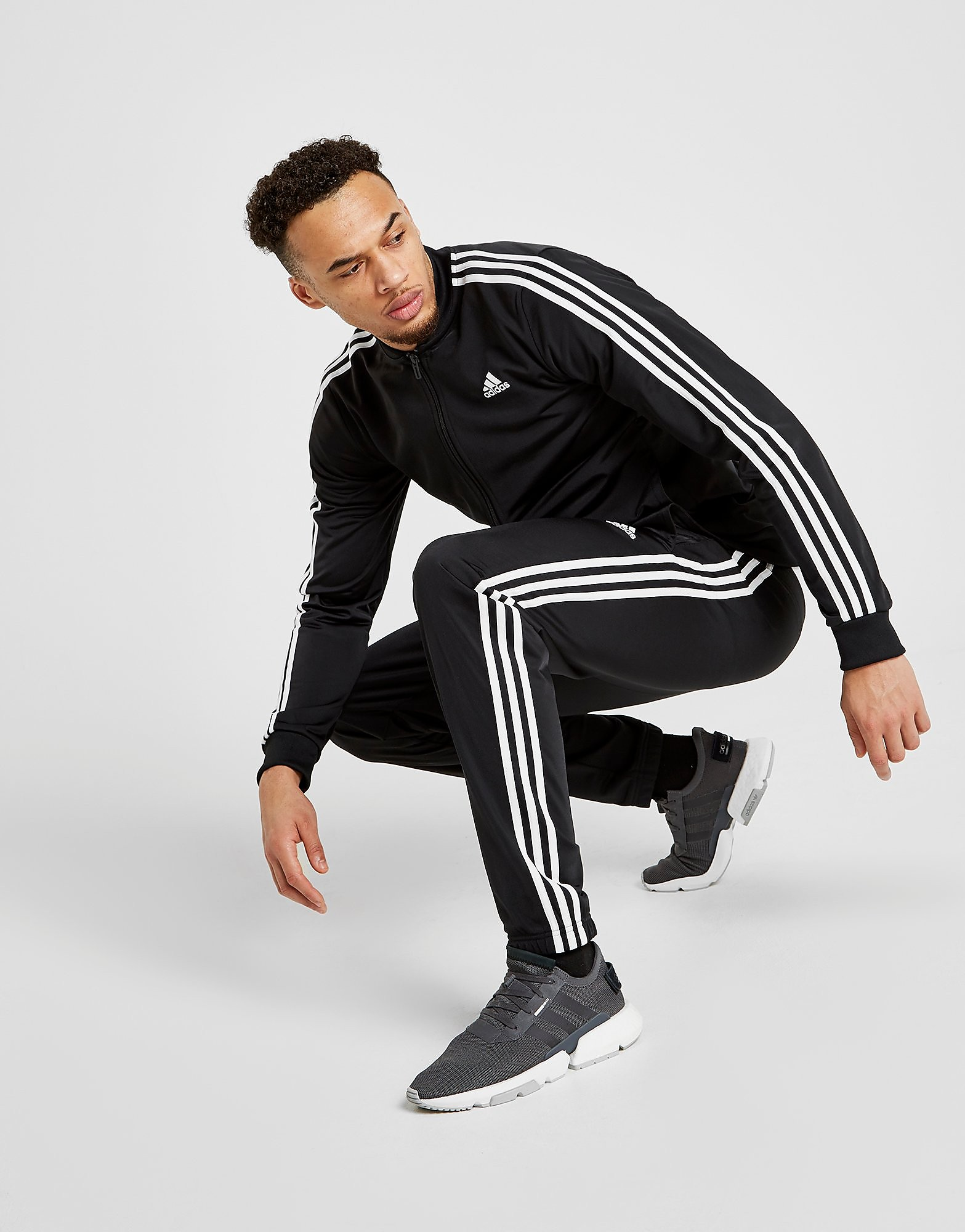 adidas 3-Stripes Poly Trainingsbroek Heren - alleen bij JD - Zwart - Heren