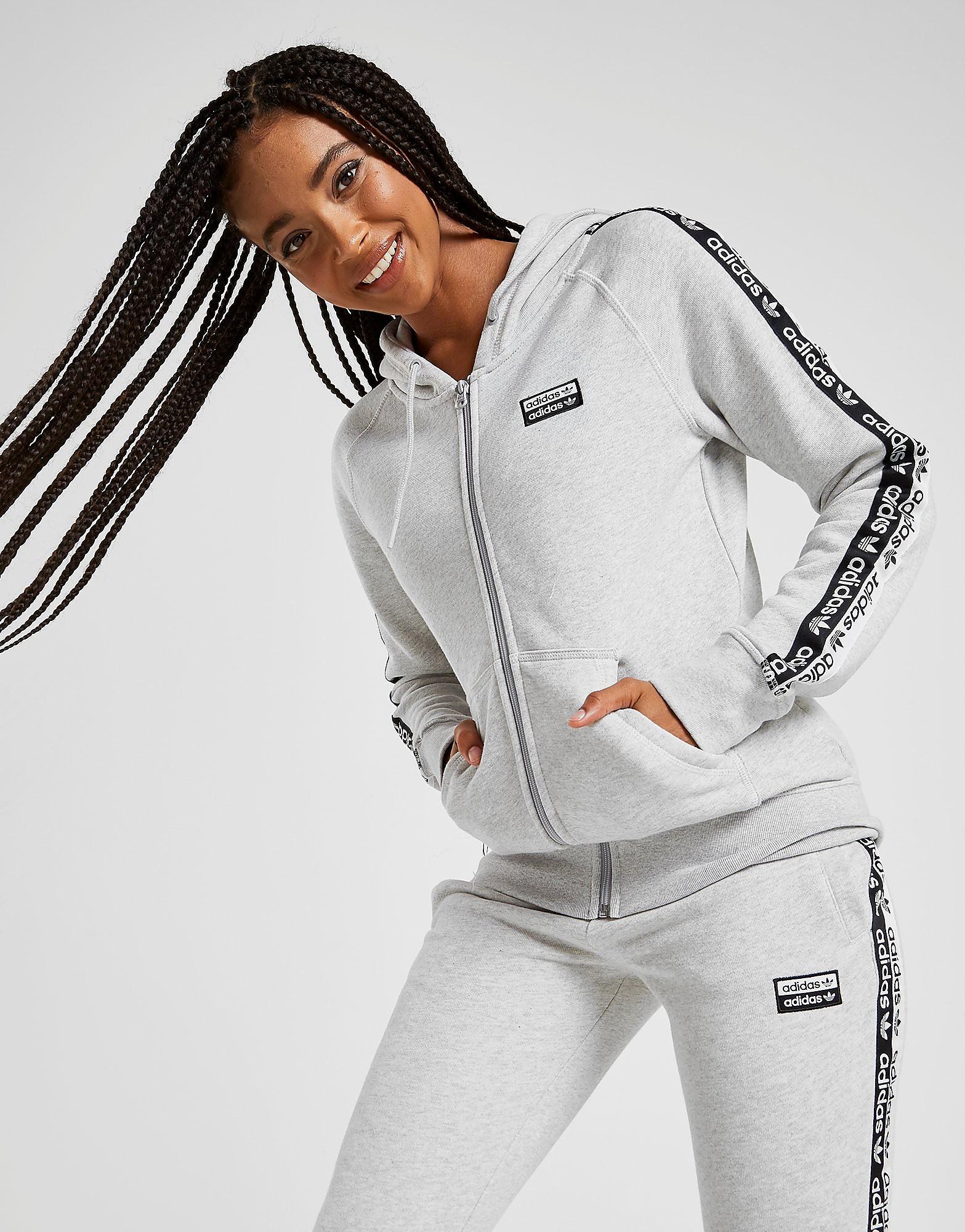 adidas Originals Tape Fleece Full Zip Hoodie Dames alleen bij JD Grijs Dam