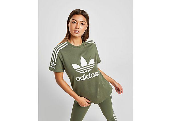 adidas Originals 3-Stripes Lock Up Boyfriend T-Shirt Dames - alleen bij JD - Green/White - Dames