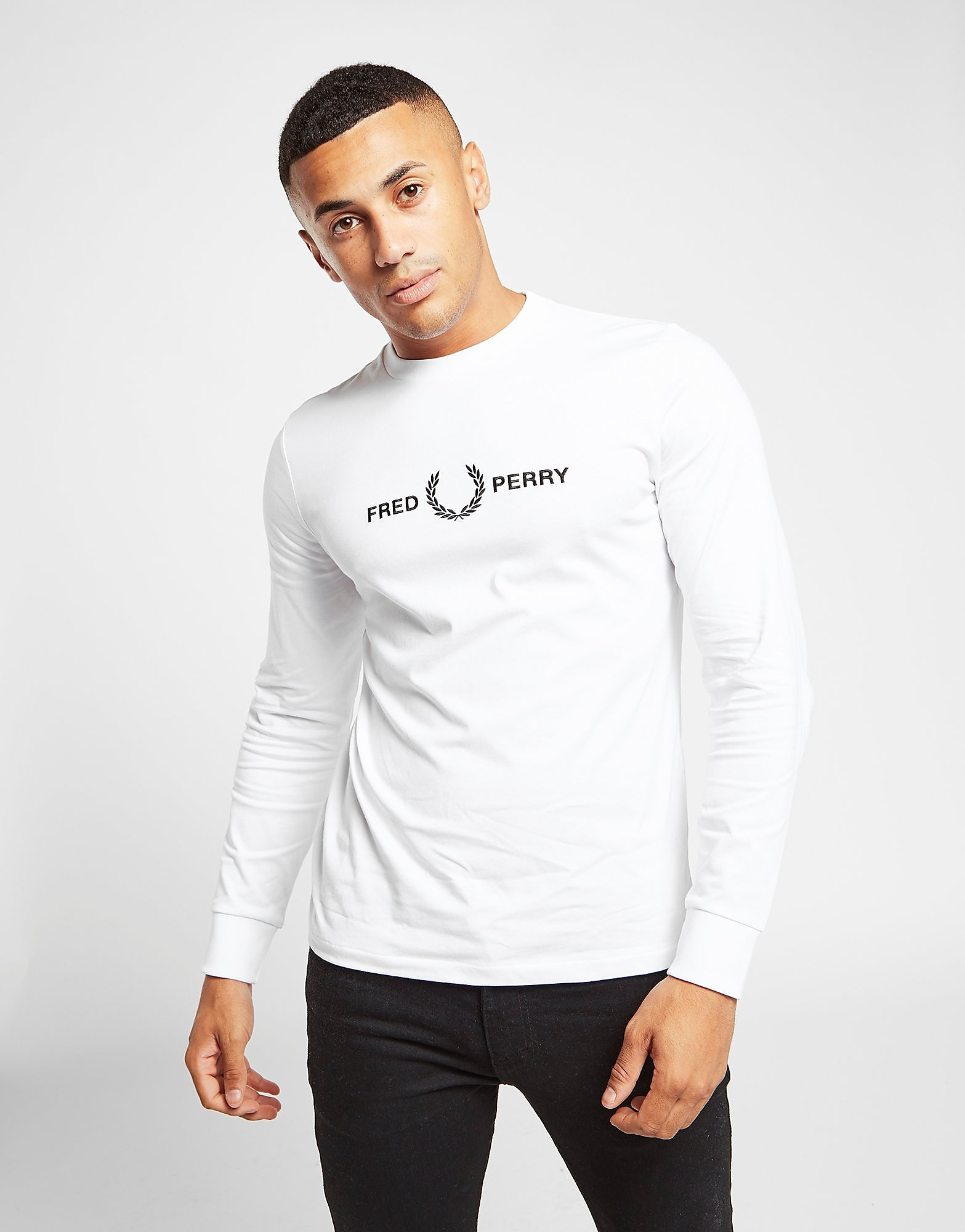 Fred Perry Embroidered Long Sleeve T-Shirt Wit Heren