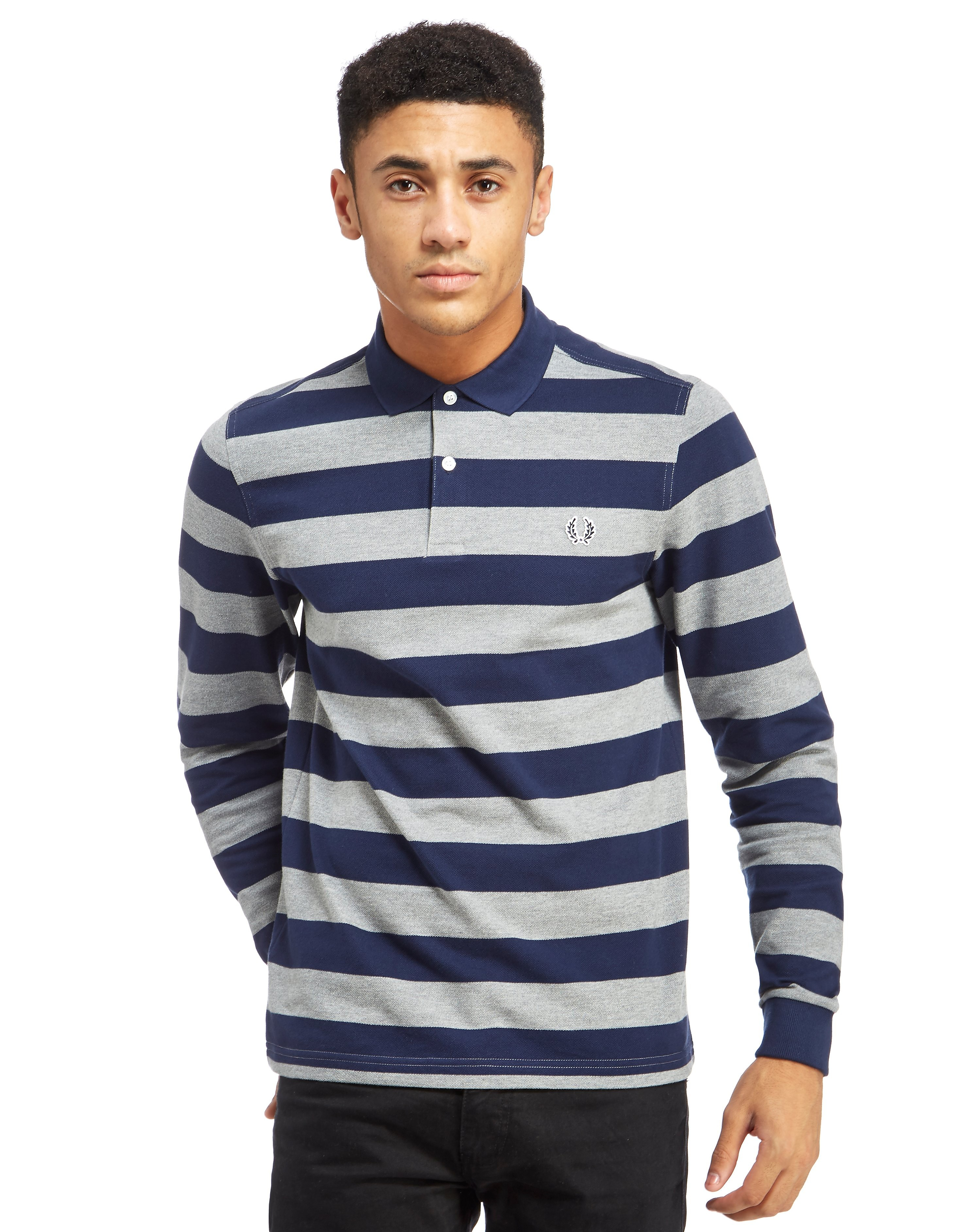 Fred Perry Stripe Long Sleeve Polo Shirt